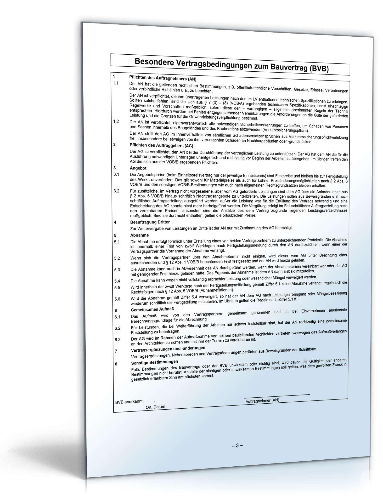 Vob Bauvertrag Kurzfassung Muster Zum Download