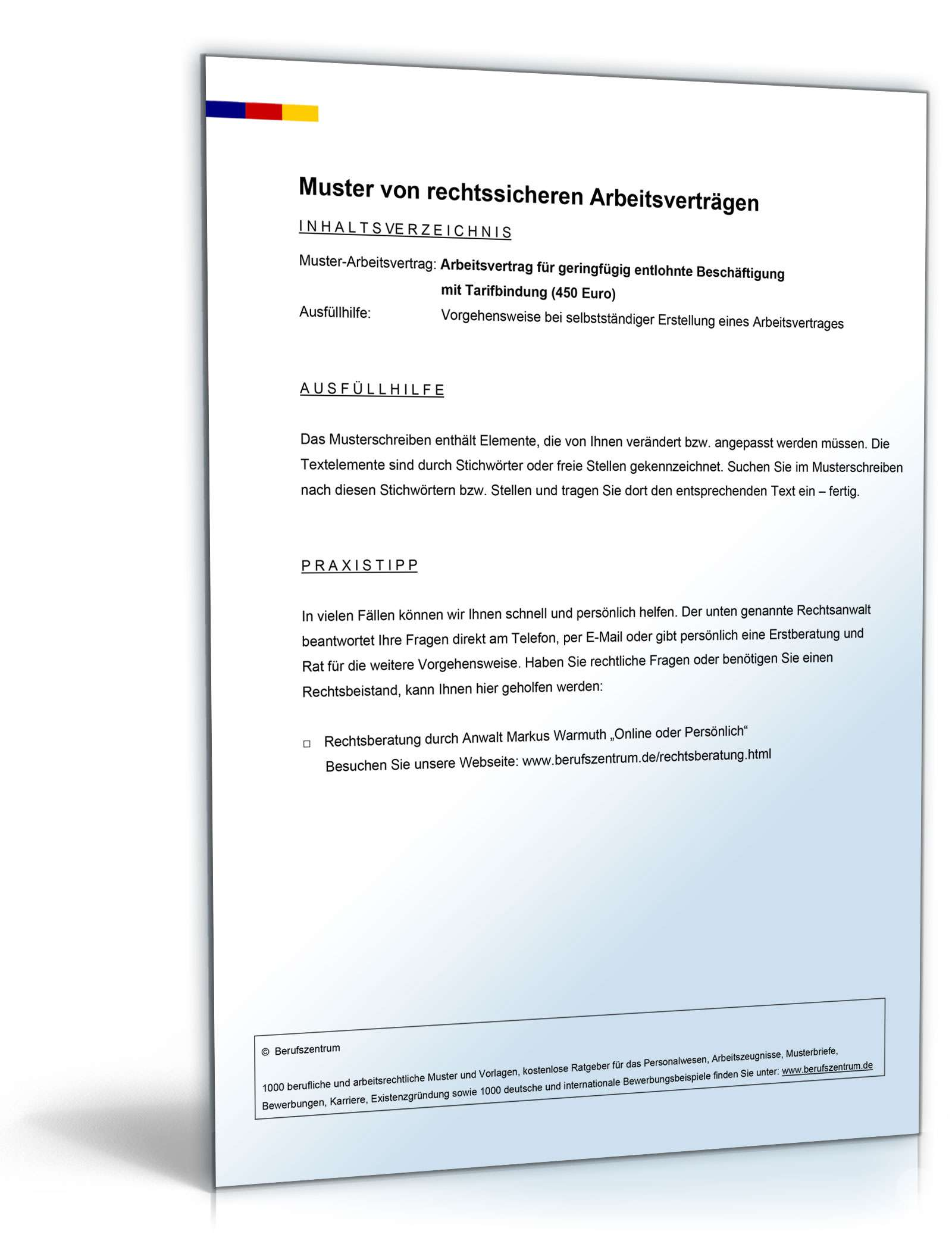 Arbeitsvertrag Minijob Mit Traifbindung Muster Zum Download