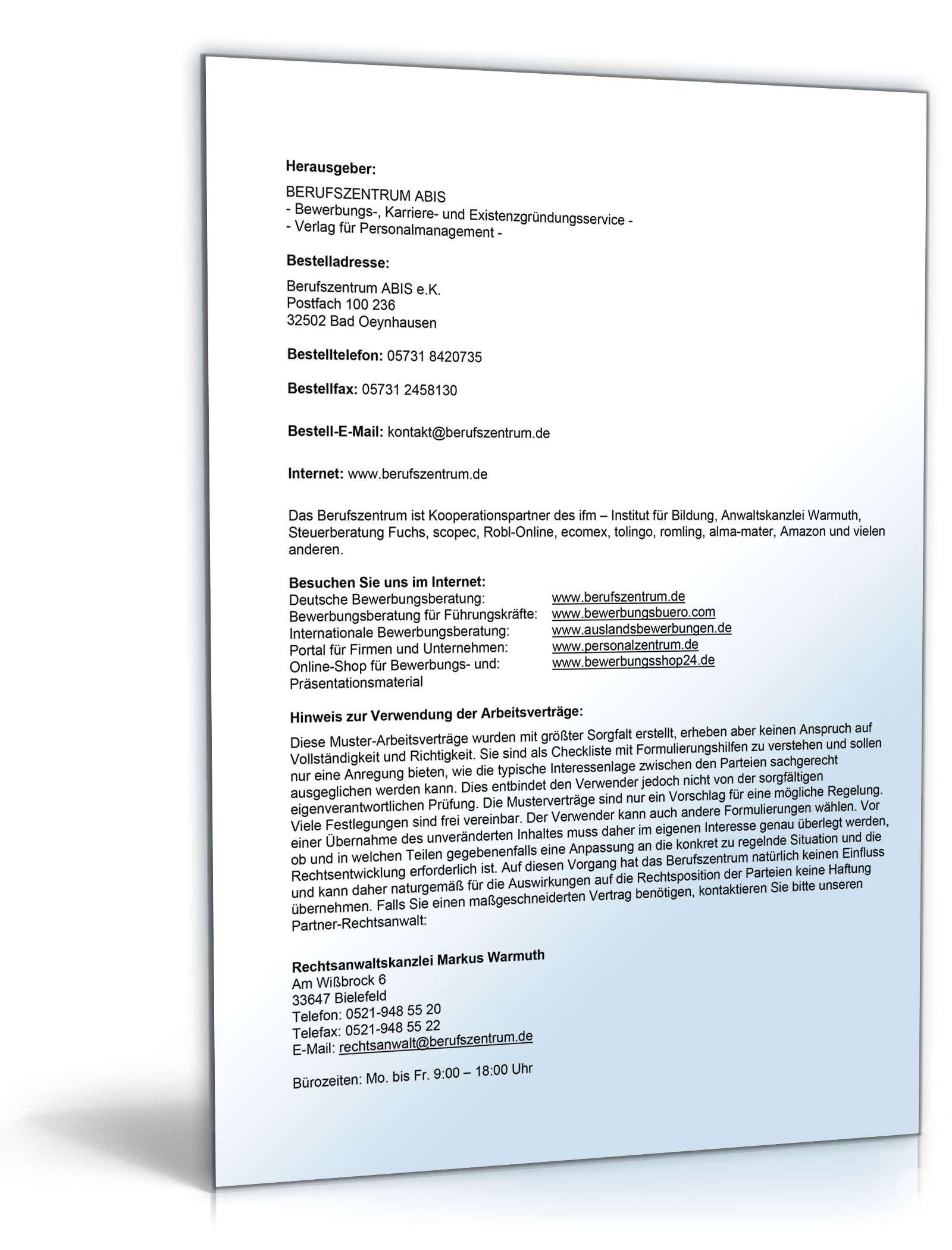 Arbeitsvertrag Minijob Auf Abruf Ohne Tarifbindung Muster Zum Download