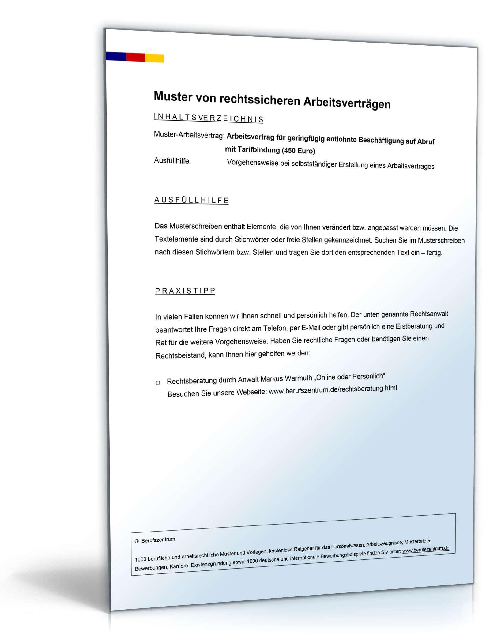 Arbeitsvertrag Minijob Auf Abruf Mit Tarifbindung Muster Zum Download