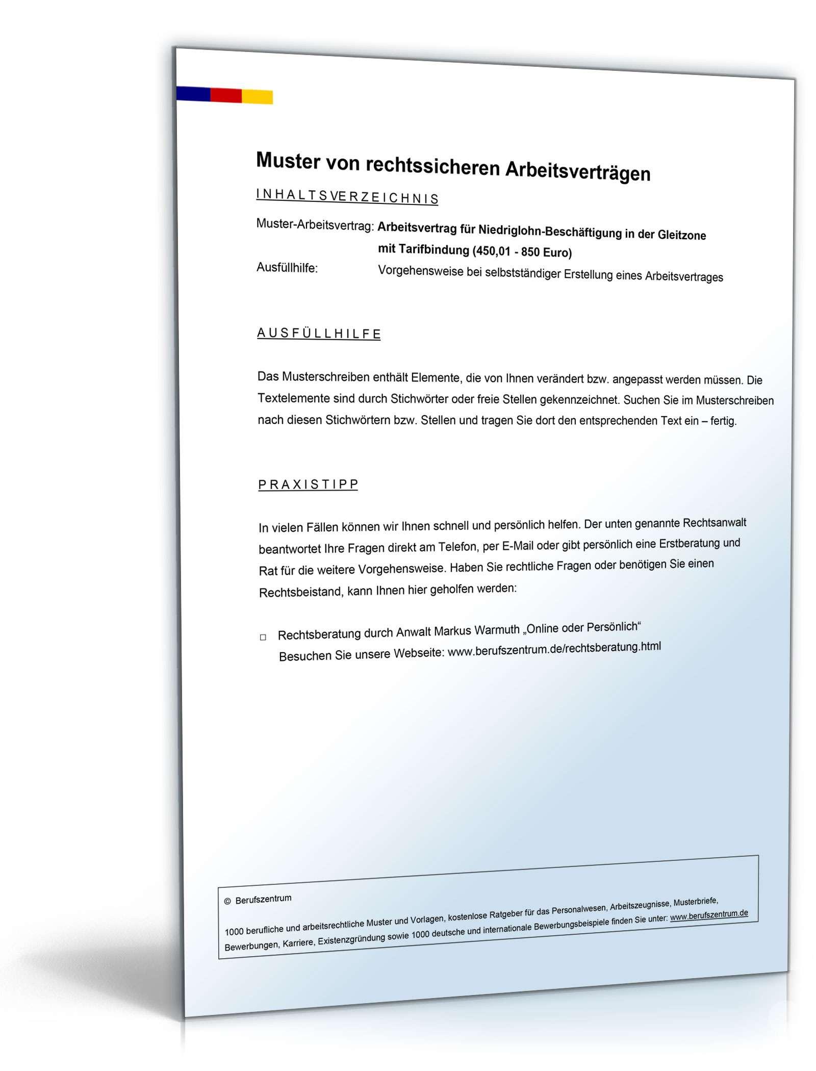 Arbeitsvertrag Gleitzone Mit Tarifbindung Muster Zum Download