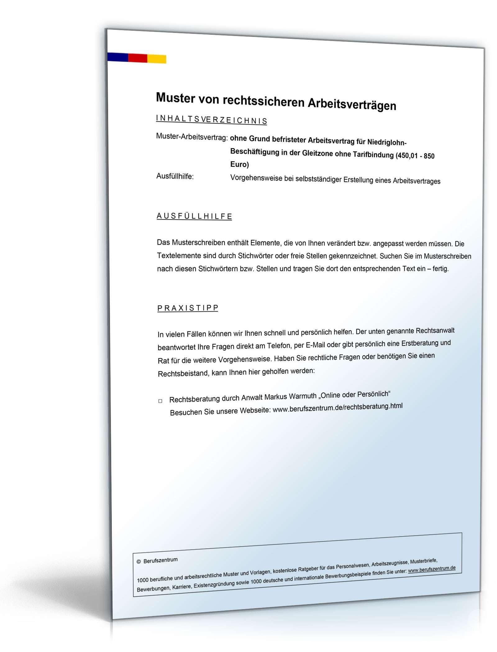 Befristeter Arbeitsvertrag Ohne Grund Gleitzone Muster Zum Download