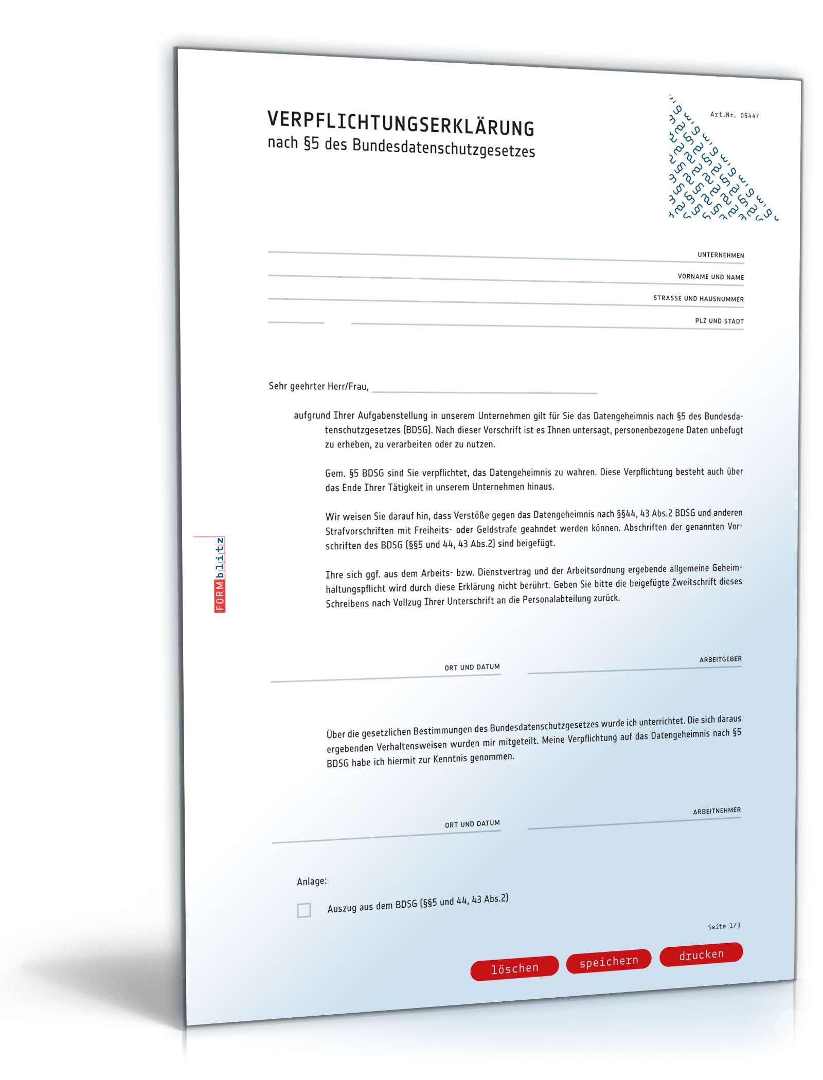 Verpflichtungserklarung Gemass 5 Bdsg Muster Zum Download