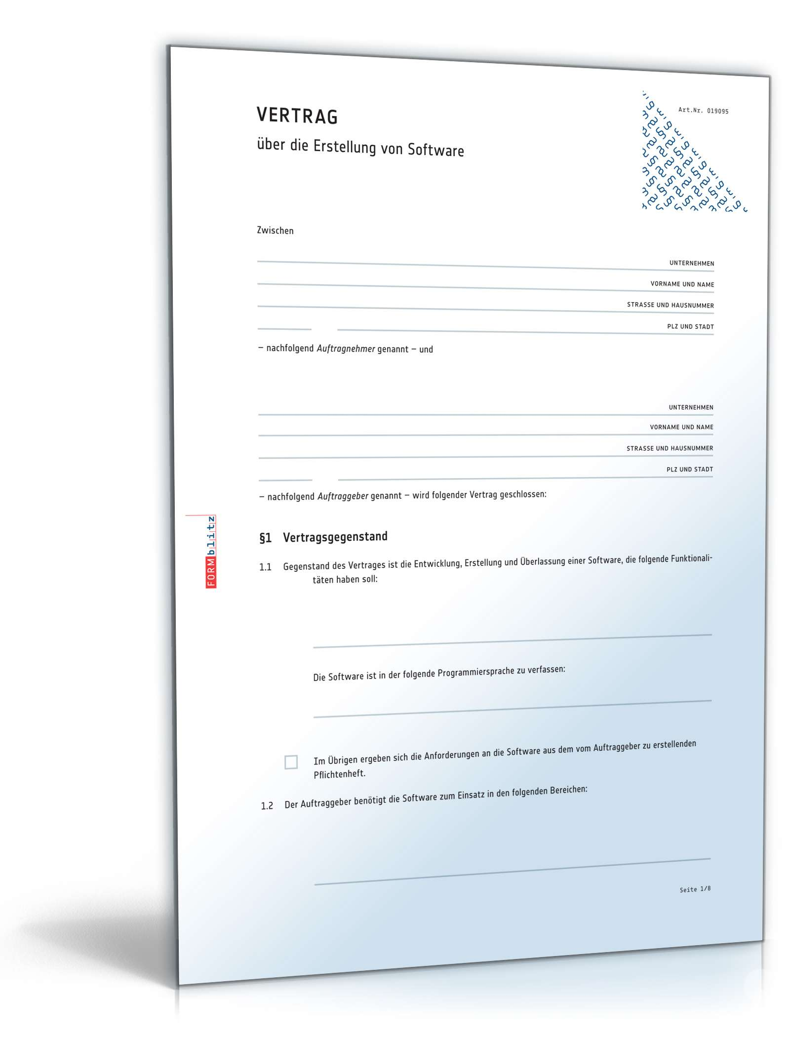 Vertrag Softwareerstellung Vorlage Zum Download