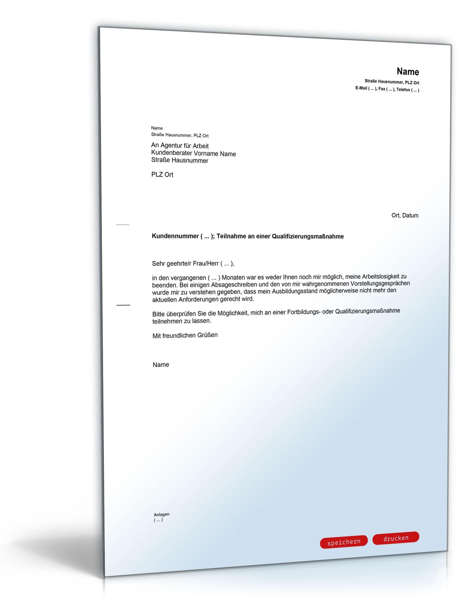 Anfrage Arbeitsagentur Fortbildung Muster Vorlage Zum Download