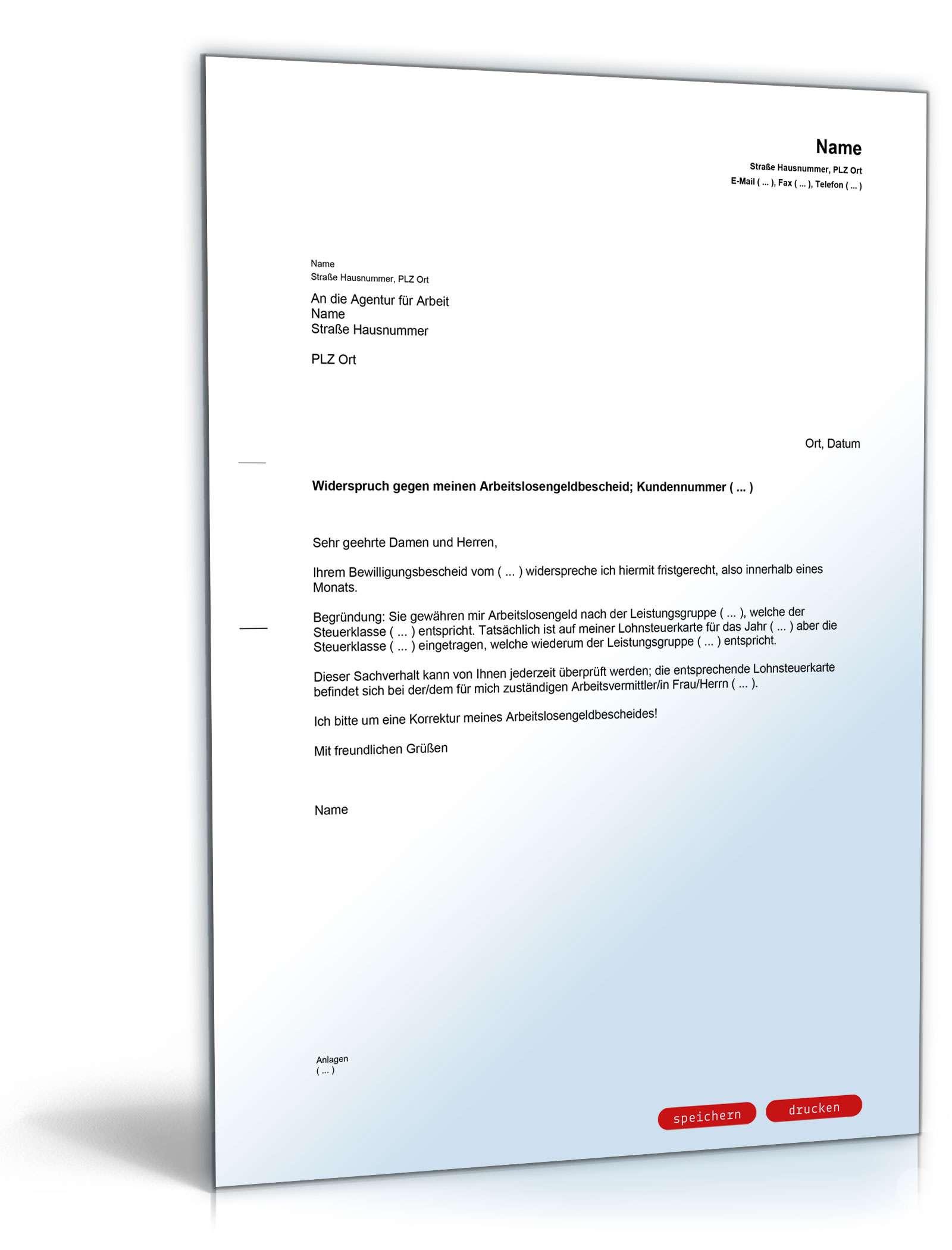 Einspruch Gegen Arbeitslosengeldbescheid Muster Vorlage Zum Download