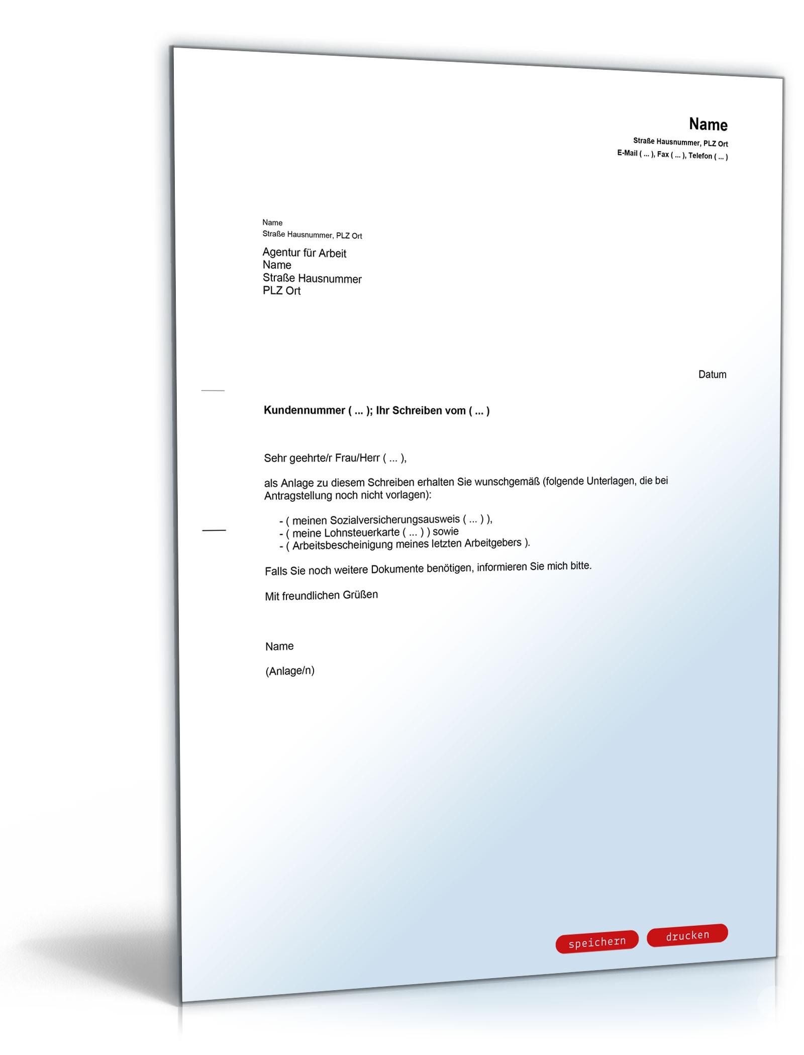 Begleitschreiben bei Zusendung von Unterlagen | Muster zum Download