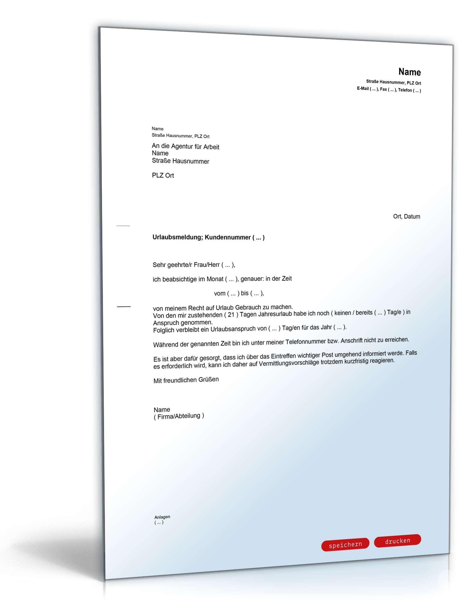 Urlaubsmeldung Bei Der Agentur Für Arbeit Vorlage Zum Download