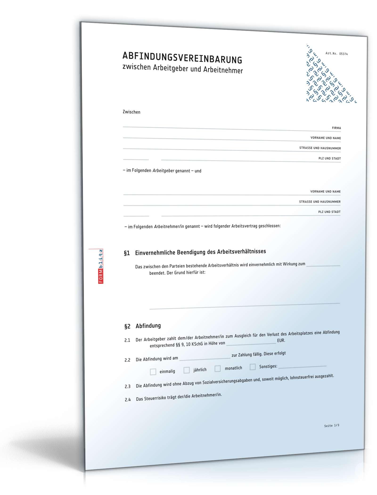 Abfindungsvereinbarung: Anwaltsgeprüftes Muster zum Download