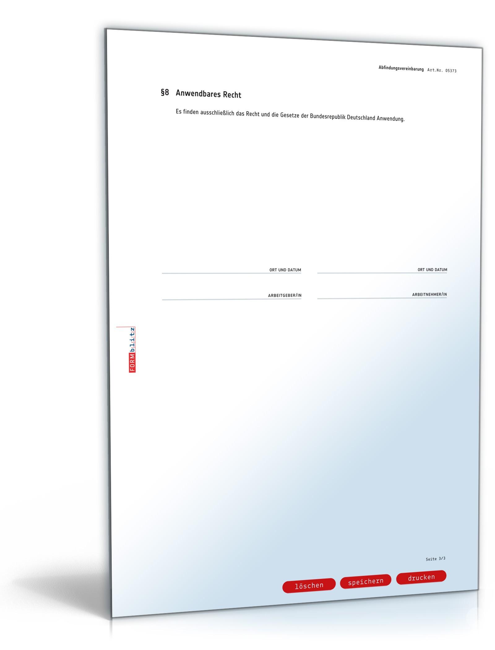 Abfindungsvereinbarung Anwaltsgeprüftes Muster Zum Download