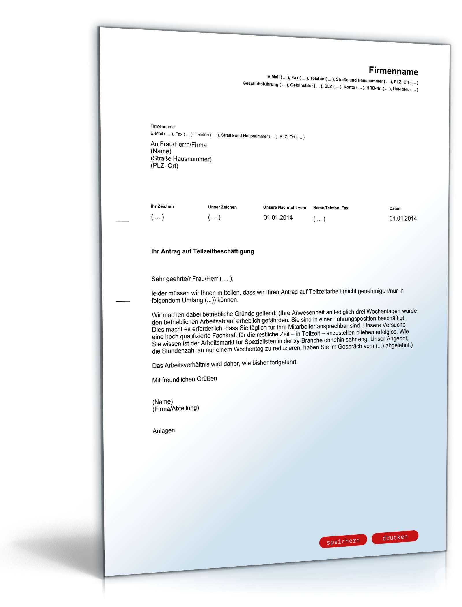 Ablehnung Antrag Teilzeitarbeit Vorlage Zum Download