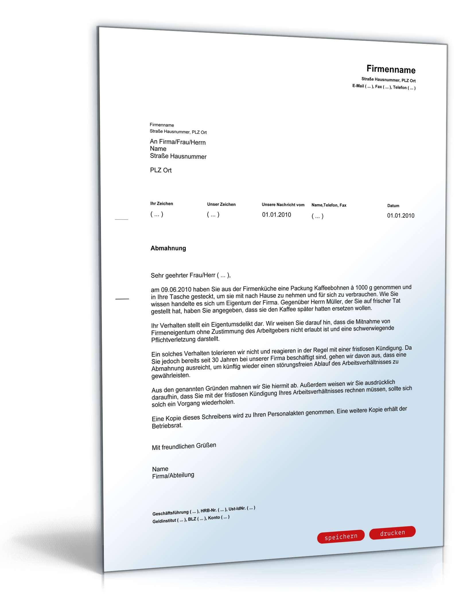 Abmahnung Wegen Bagatelldelikt Vorlage Zum Download