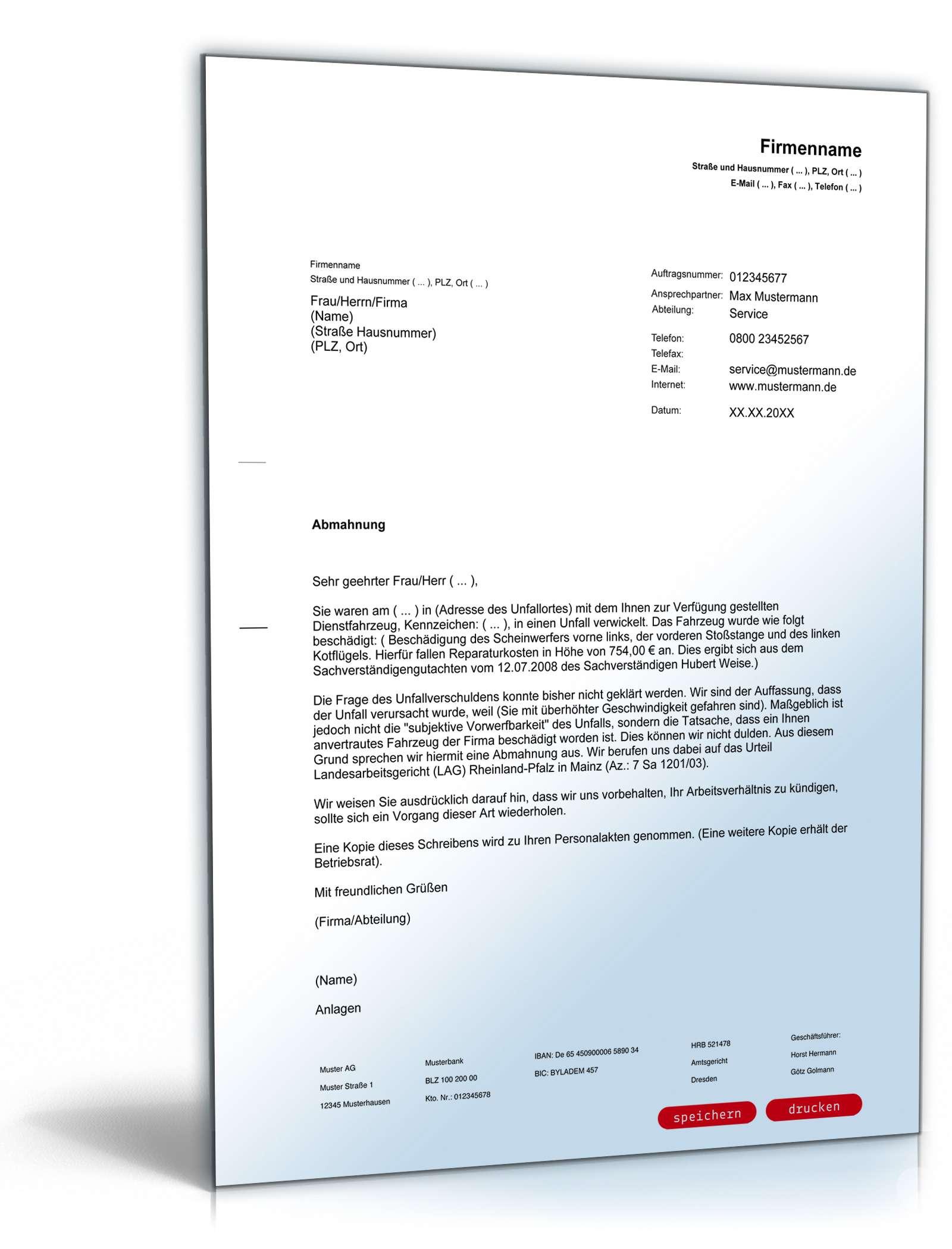 Abmahnung Unfalls Mit Dienstwagen Muster Zum Download