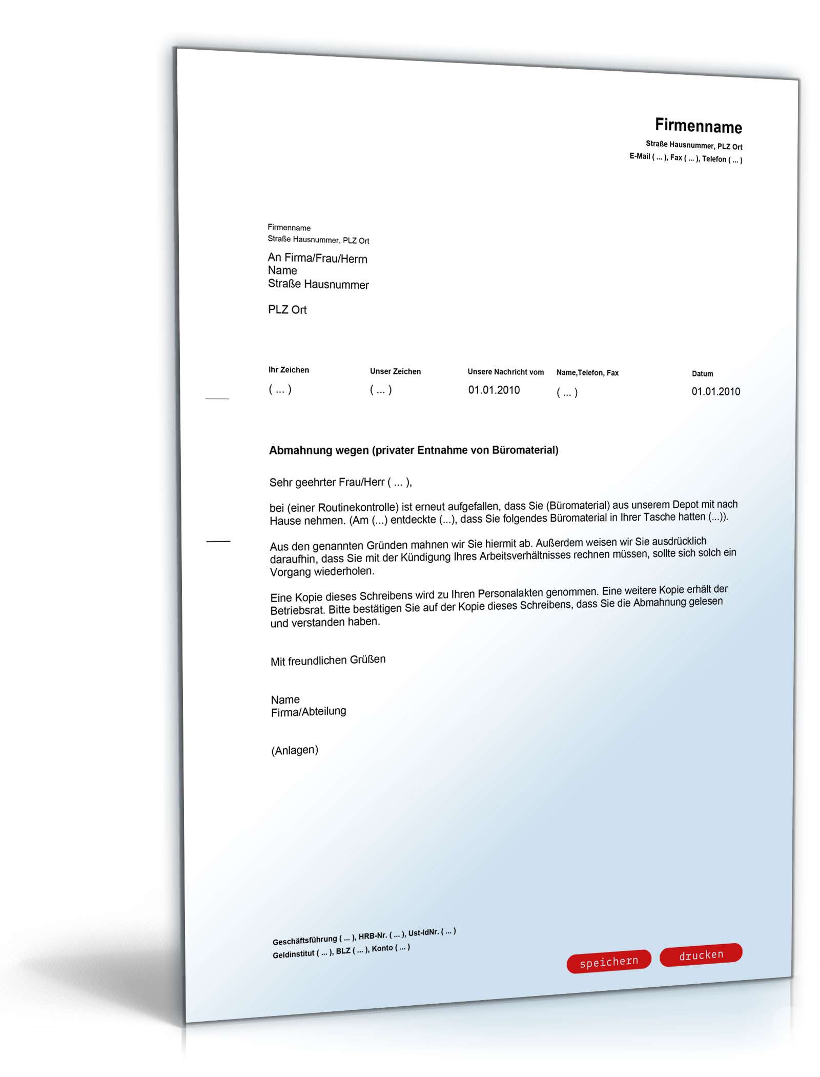 Abmahnung Entnahme Von Büromaterial Vorlage Zum Download