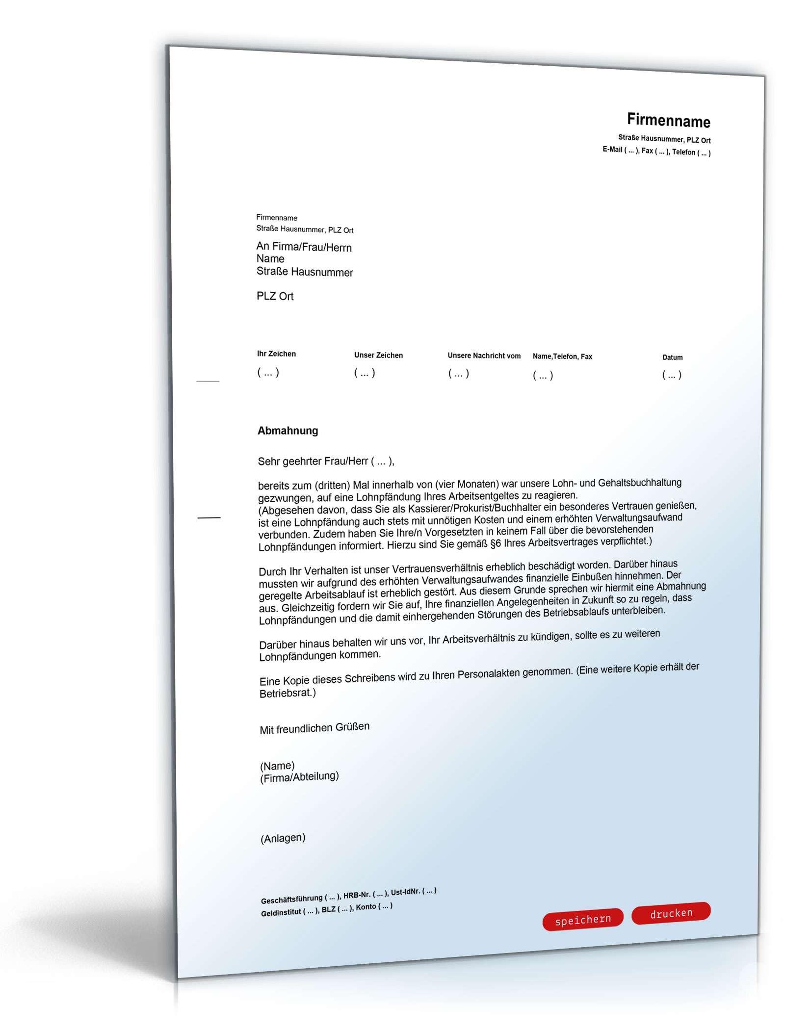 Abmahnung Wiederholte Lohnpfändungen Muster Zum Download