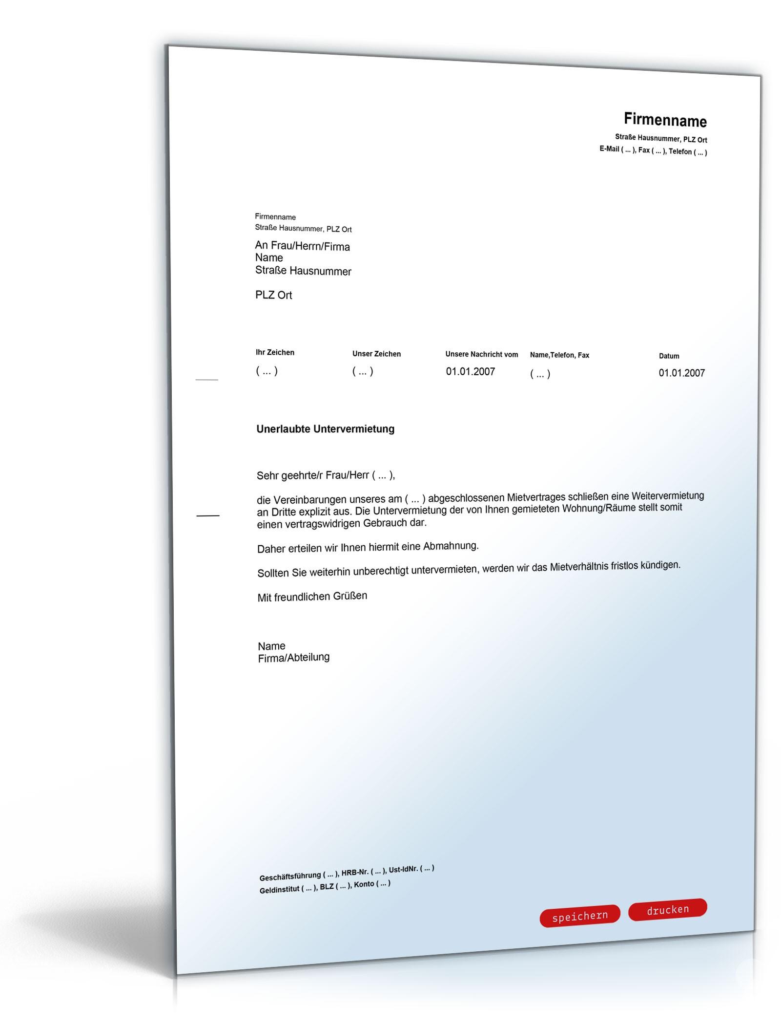 Abmahnung Unerlaubte Untervermietung Vorlage Zum Download