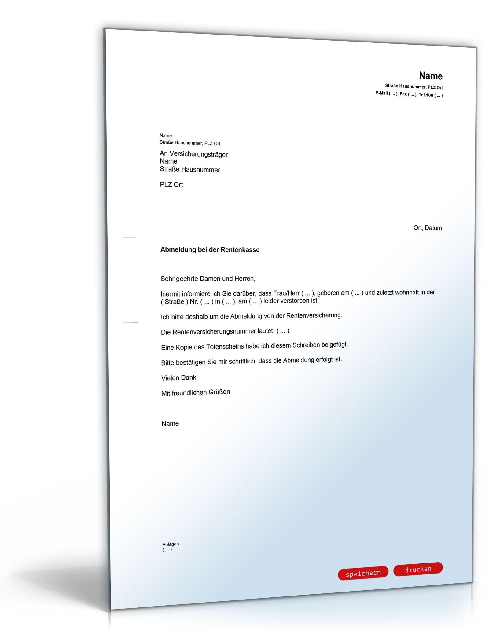 Abmeldung Rentenkasse Muster Vorlage Zum Download