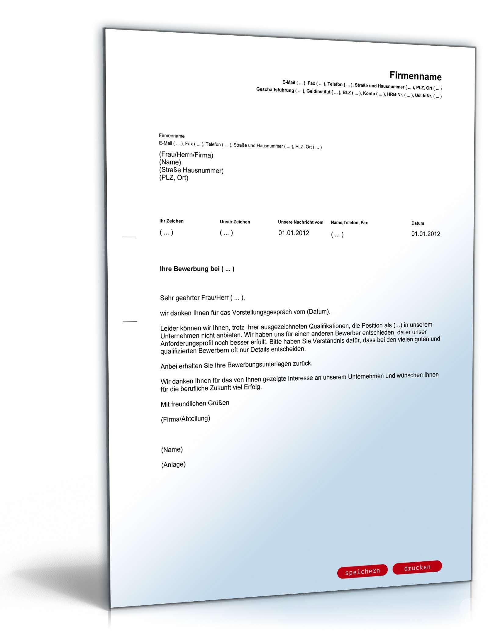 Musterbriefe Kostenlos Geschäftsbriefe : Absage bewerber nach jobinterview vorlage zum download