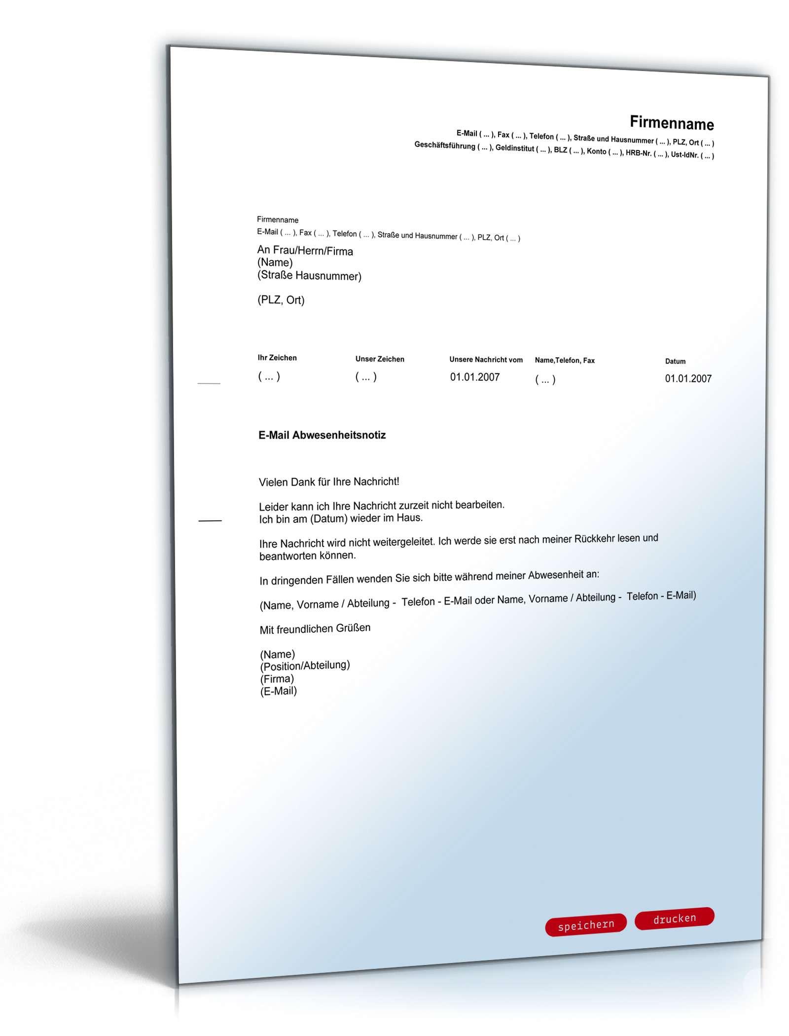 E Mail Absence Notice Englischdeutsch Vorlage Zum Download