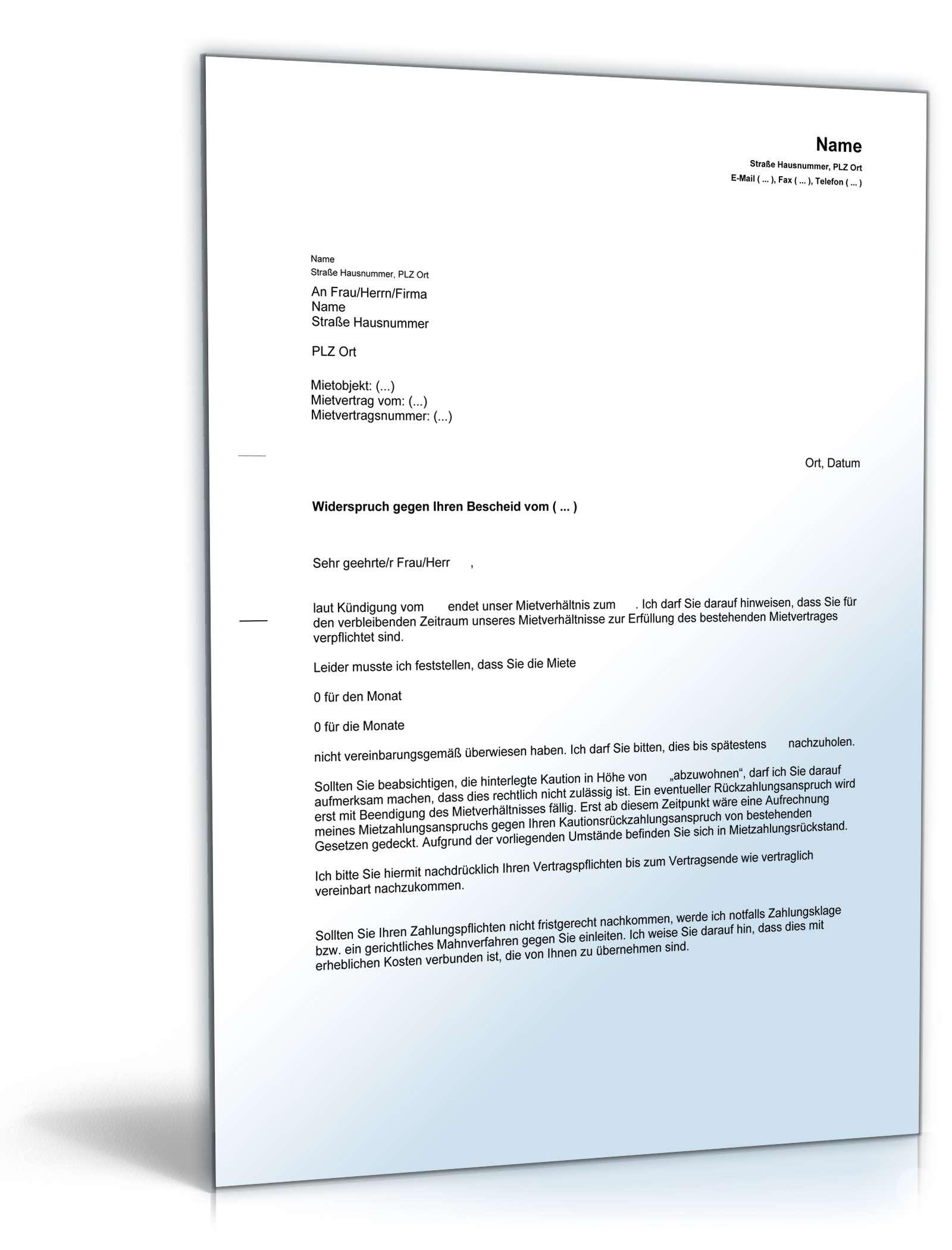 Abmahnung Abwohnen Kaution Vorlage Zum Download