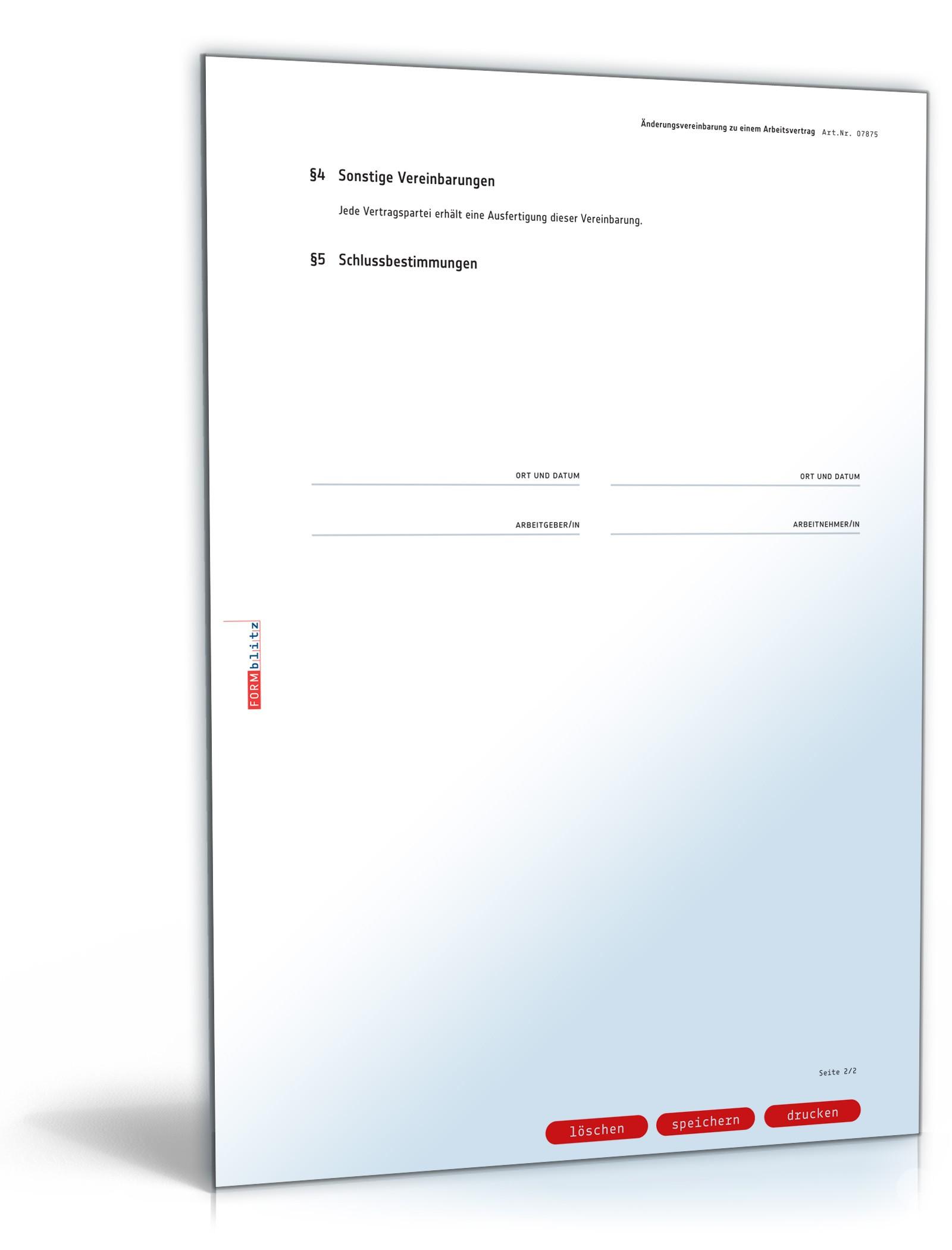 änderungsvereinbarung Arbeitsvertrag Muster Zum Download