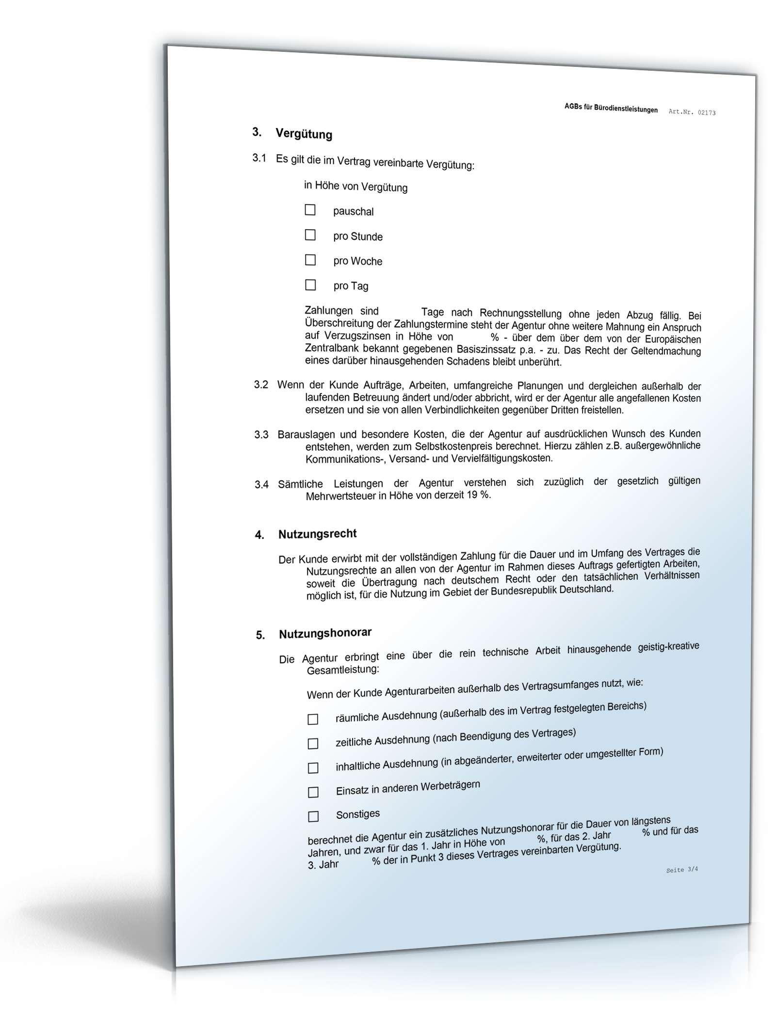 Agb Agentur Muster Für Agenturvertrag Zum Download