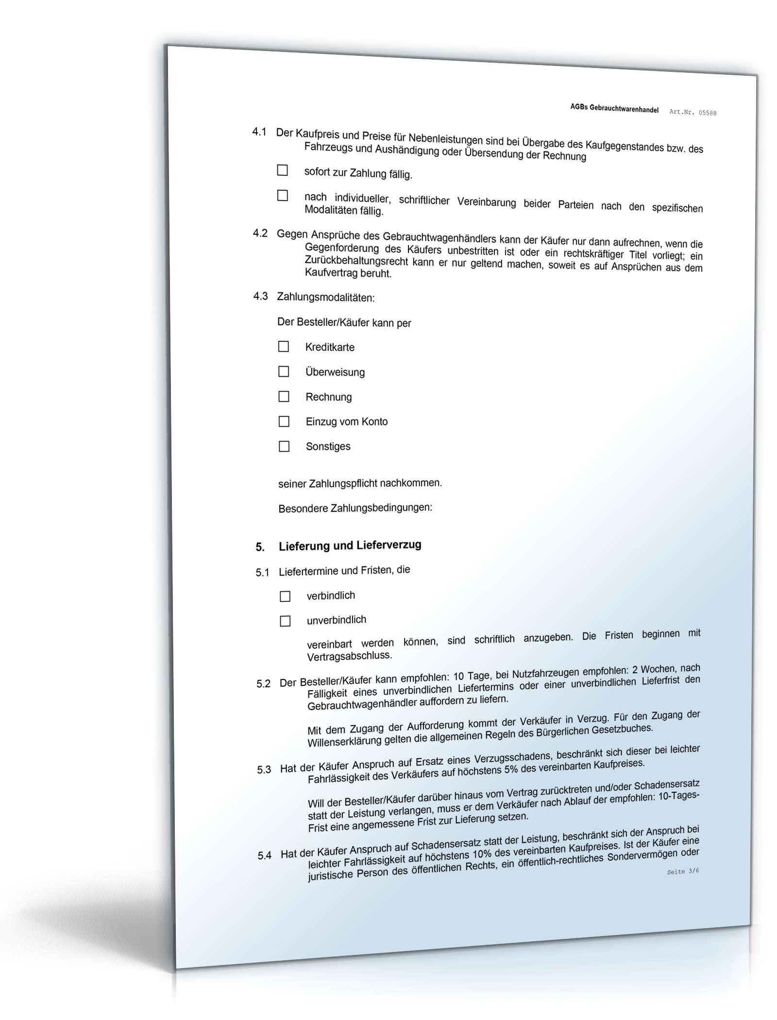 AGB Gebrauchtwagenhandel   Rechtssicheres Muster downloaden