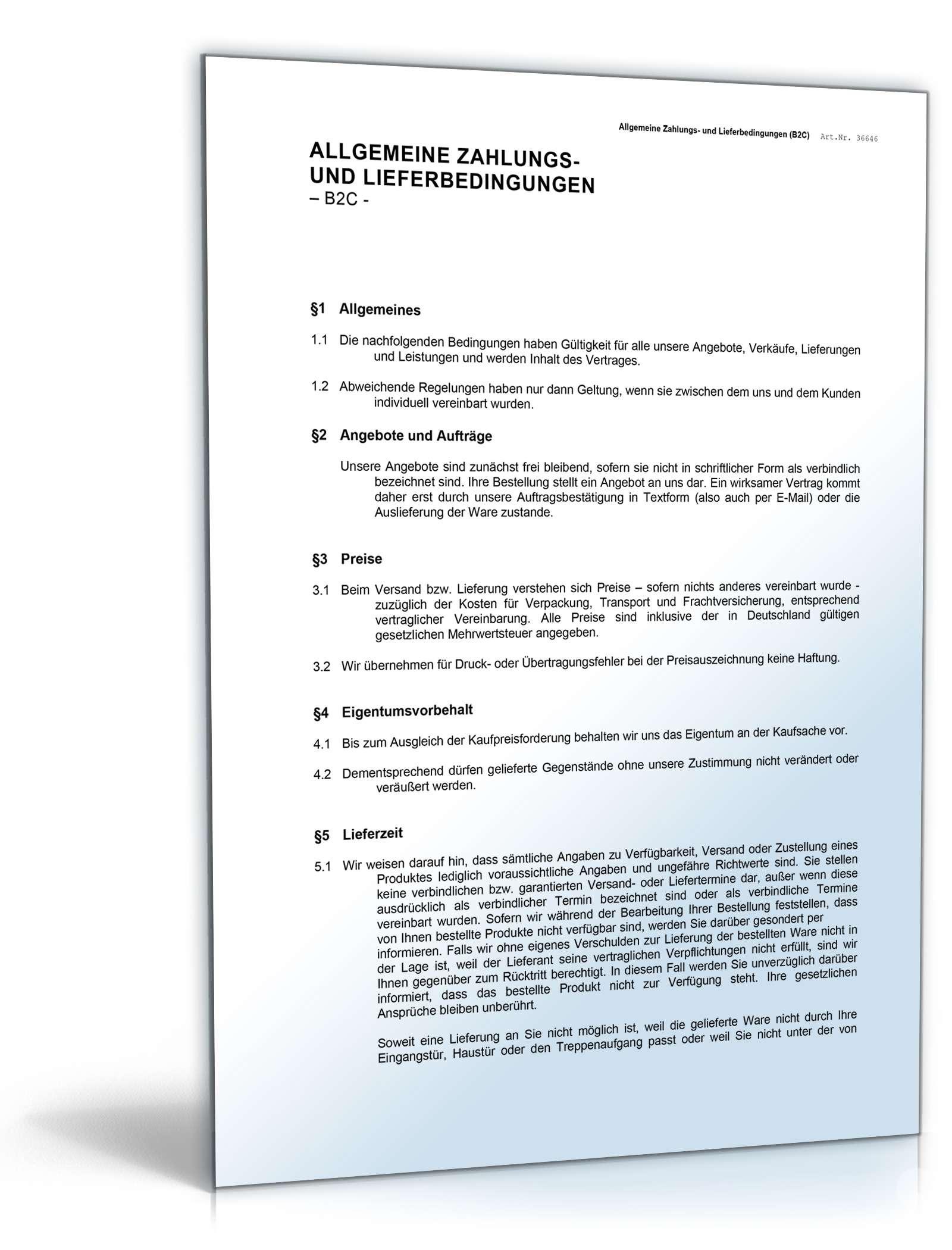 Allgemeine Liefer Zahlungsbedingungen Muster Zum Download