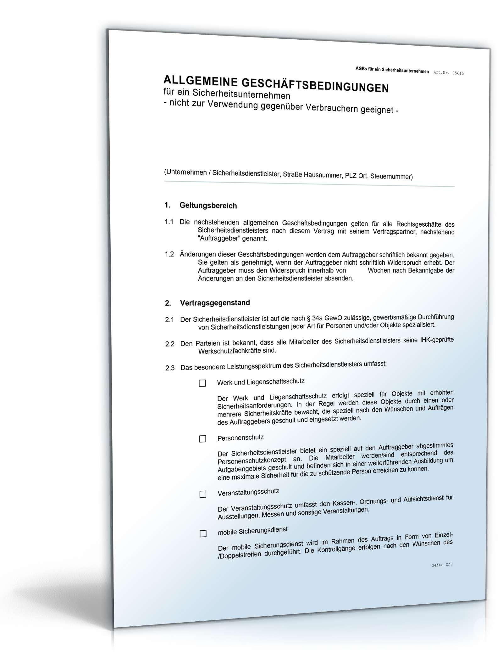 agb sicherheitsunternehmen - Allgemeine Geschaftsbedingungen Muster