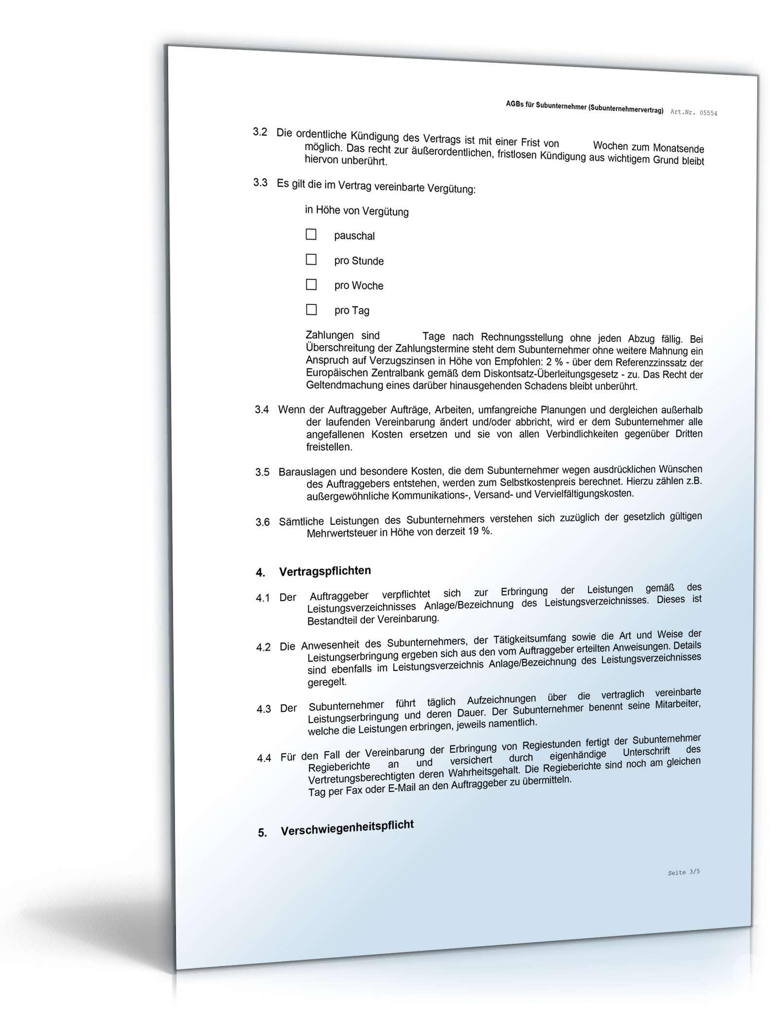 Agb Subunternehmer Rechtssicheres Muster Zum Download