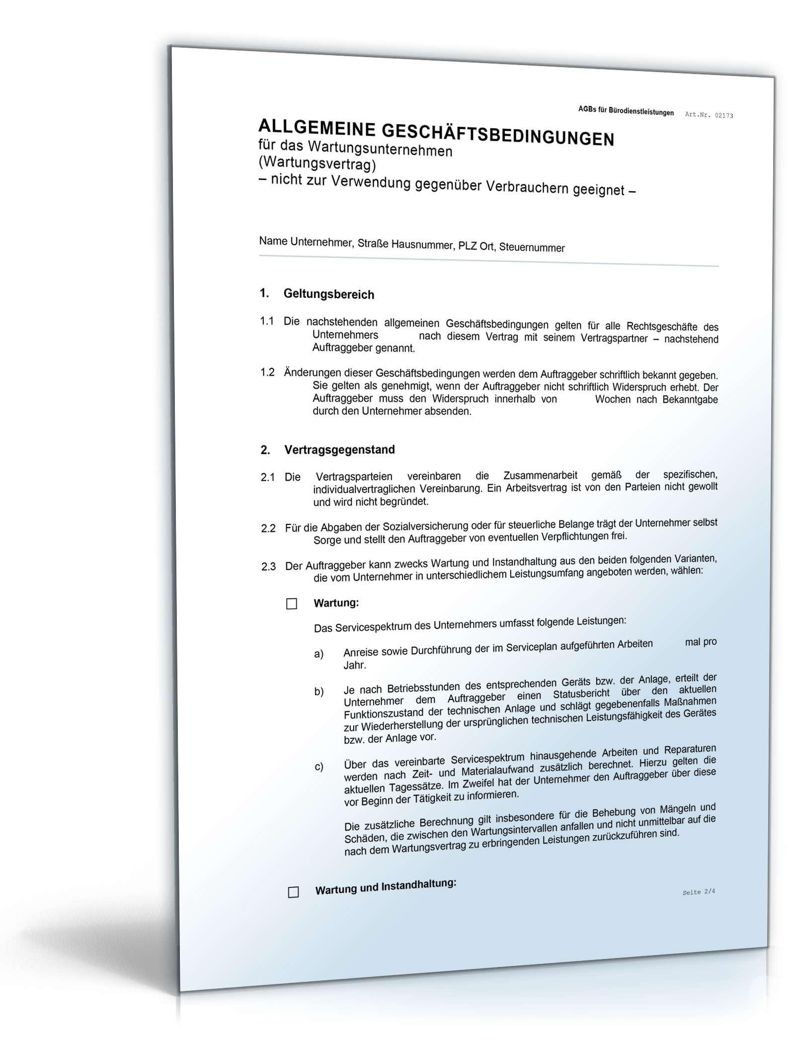 Agb Wartungsunternehmen Rechtssicheres Muster Zum Download