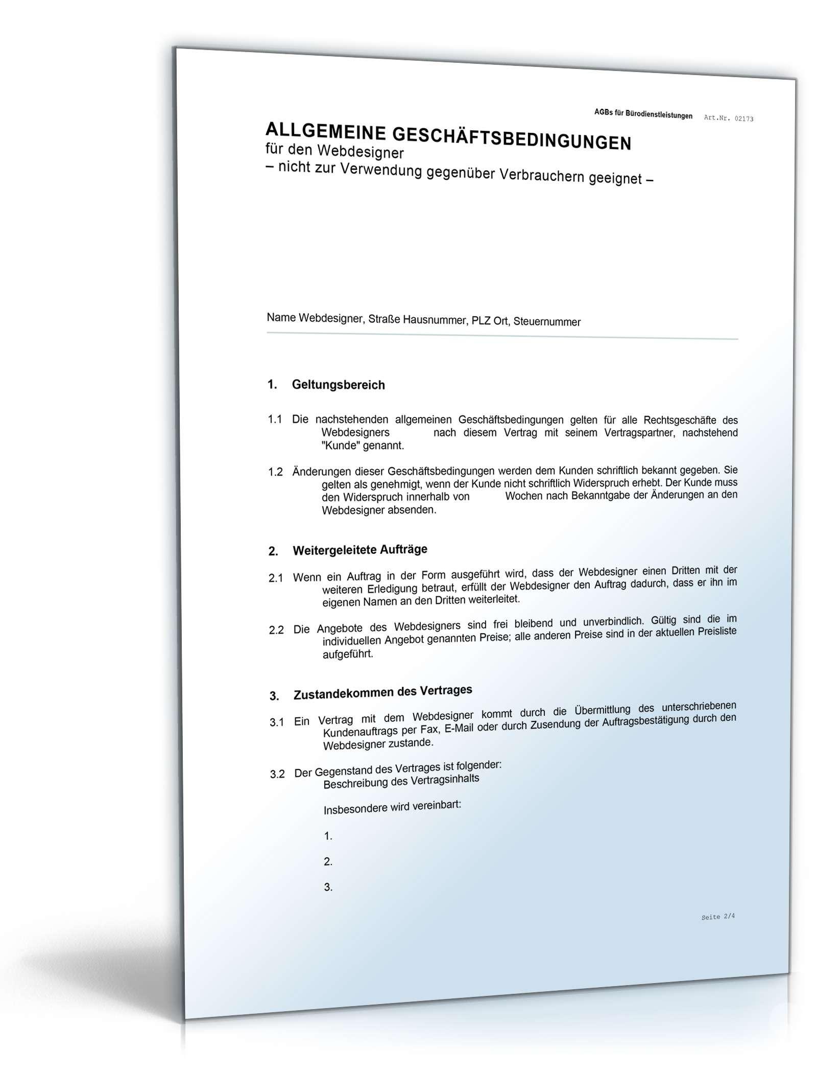 Agb Webdesign Rechtssicheres Muster Zum Download