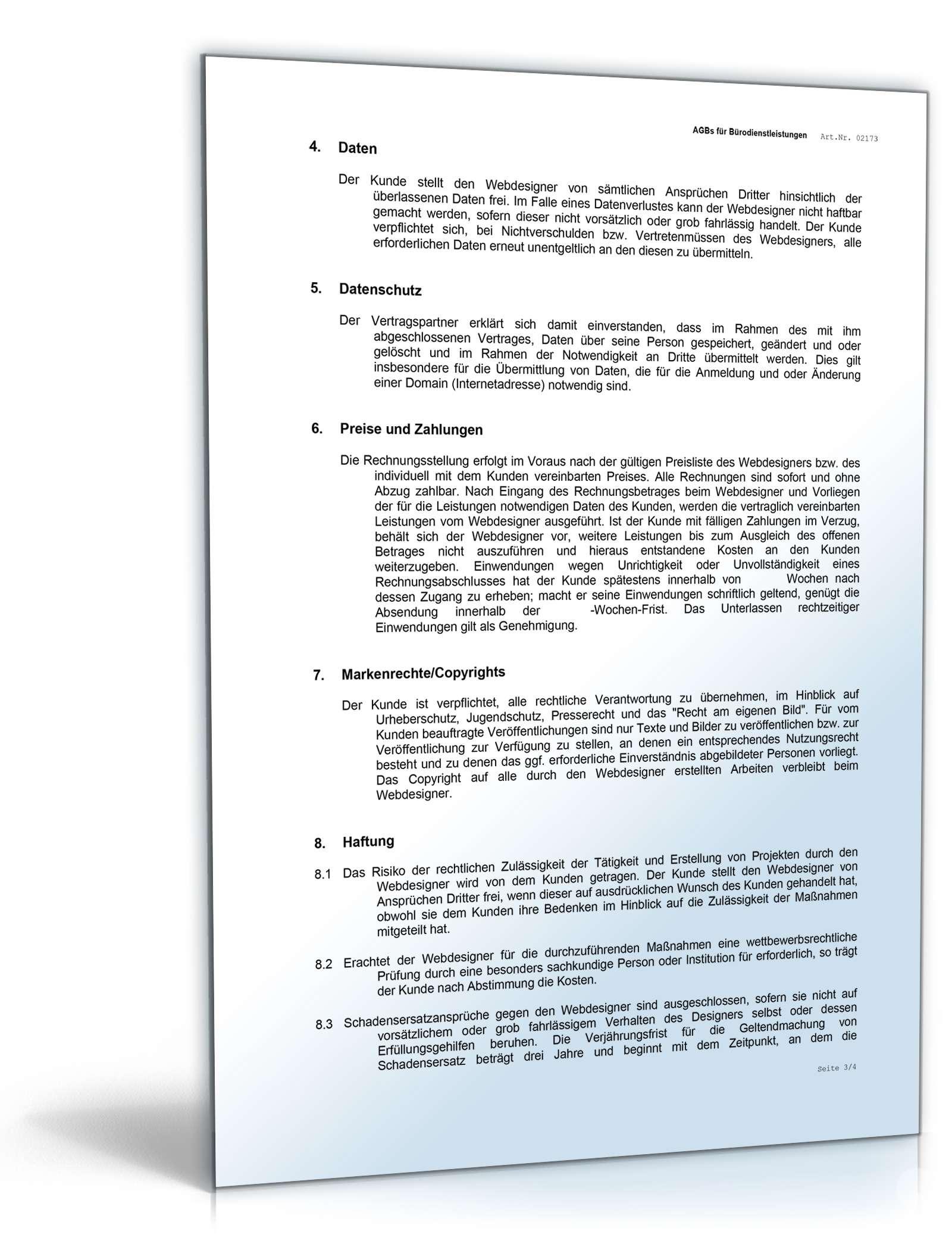 AGB Webdesign | Rechtssicheres Muster zum Download