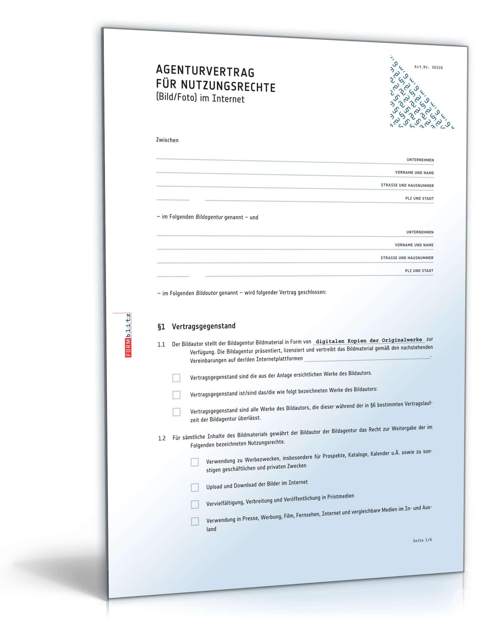 Agenturvertrag Nutzungsrechte Bild Im Internet Muster Zum Download