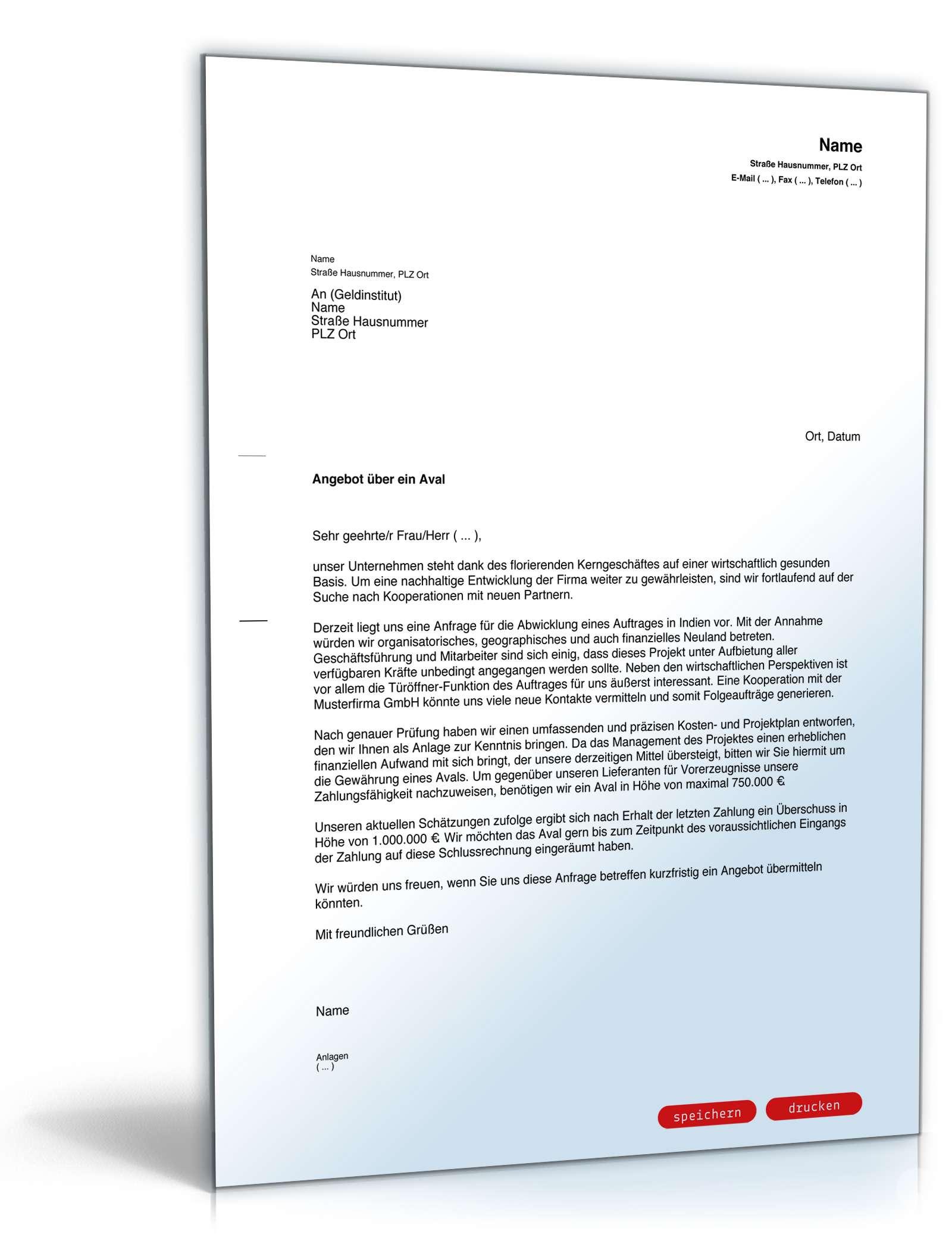 Anfrage Bankaval/Avalkredit | Vorlage zum Download