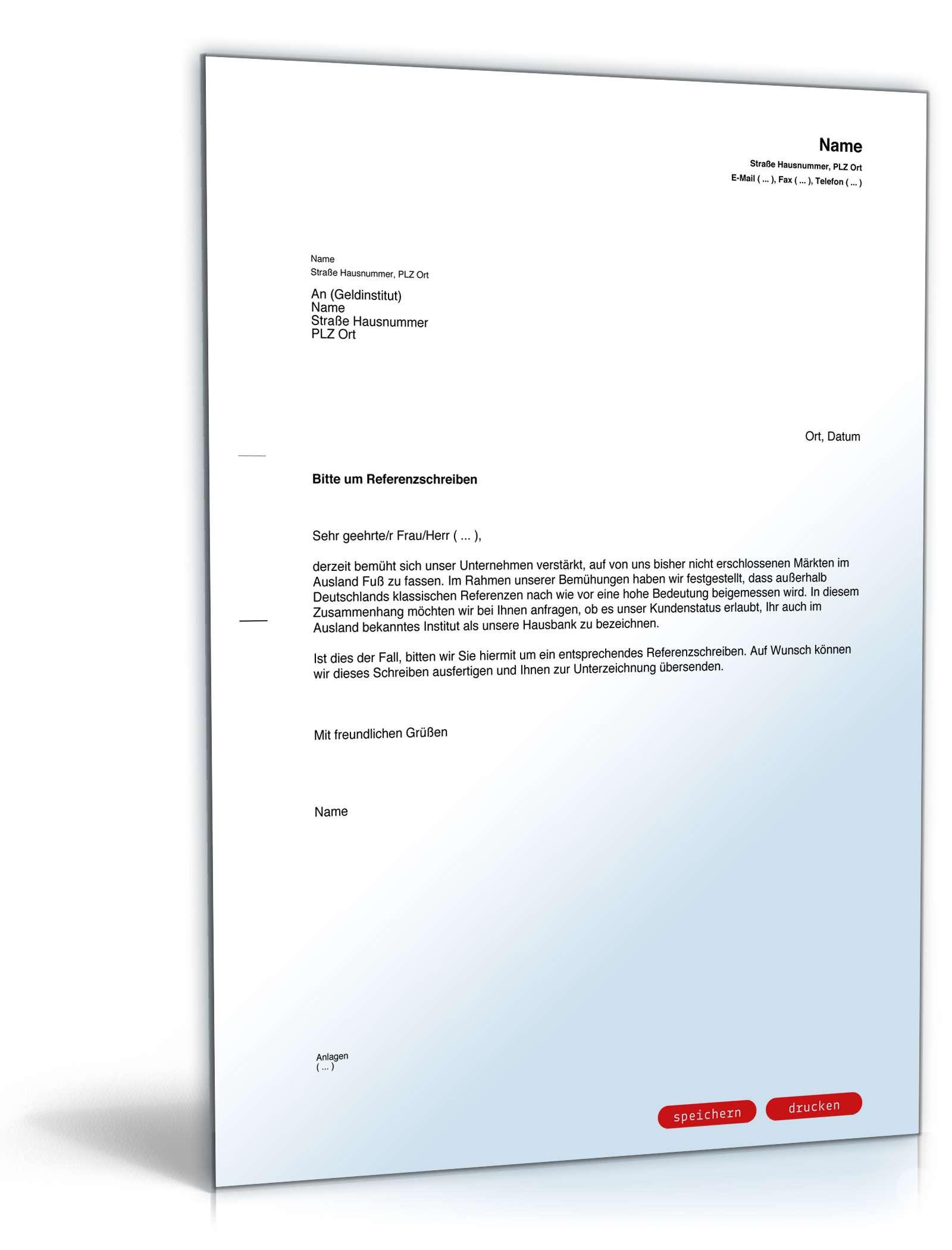 Musterbriefe Geschäftsbriefe : Bitte an bank um referenzschreiben vorlage zum download
