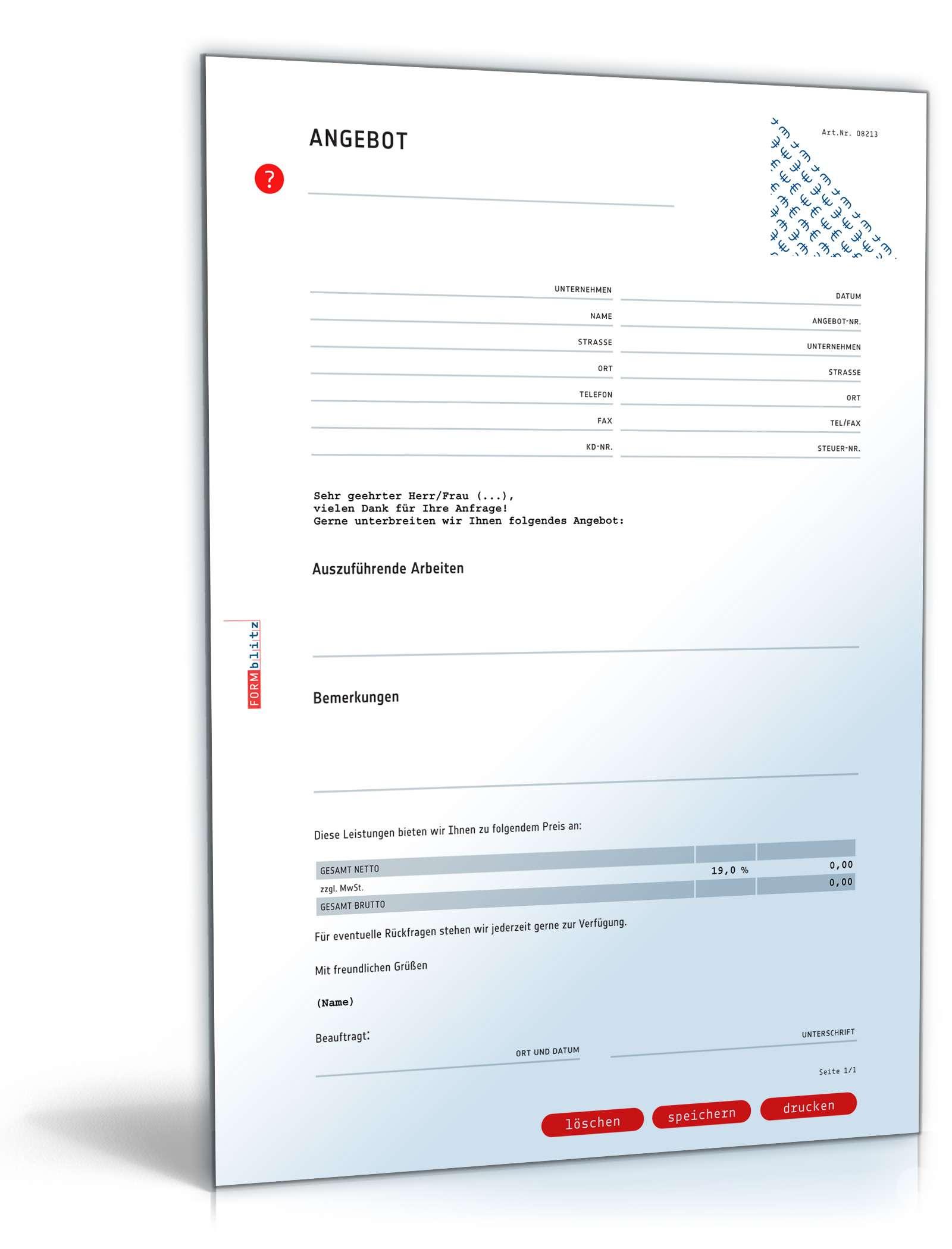 Angebot Pauschal Allgemein Vorlage Zum Download