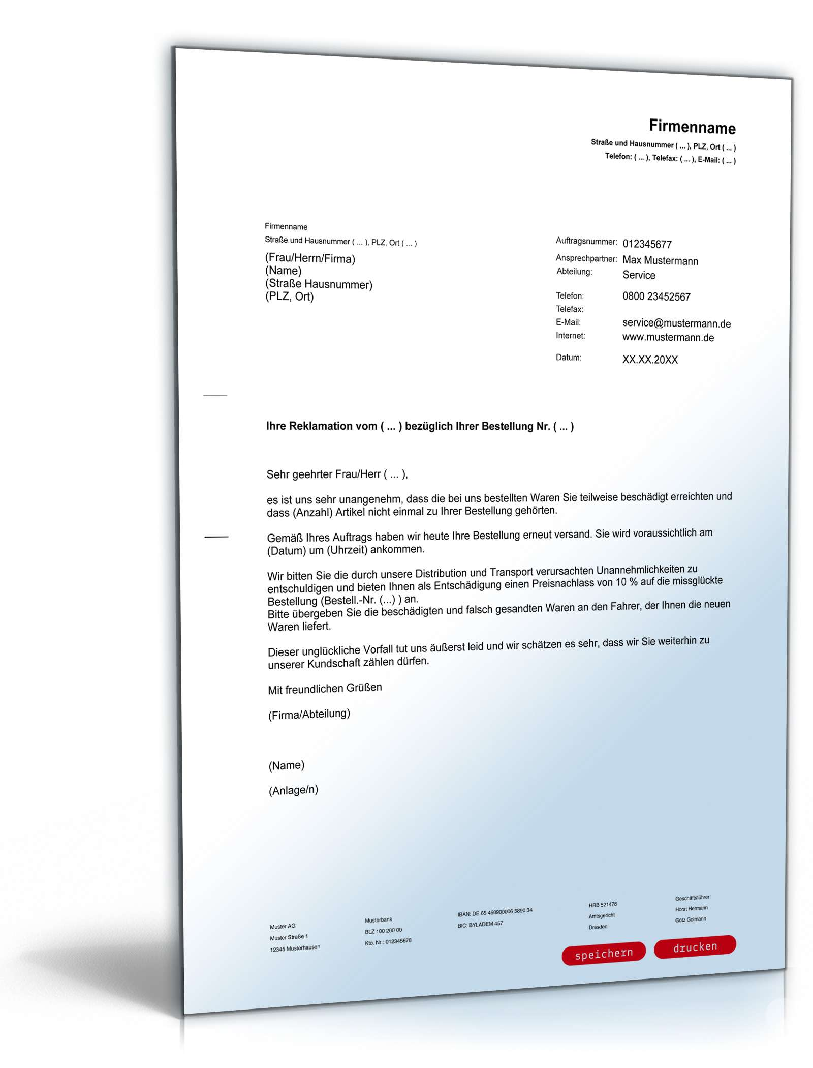 Reklamation Briefe Beispiele : Angebot preisnachlass vorlage zum download