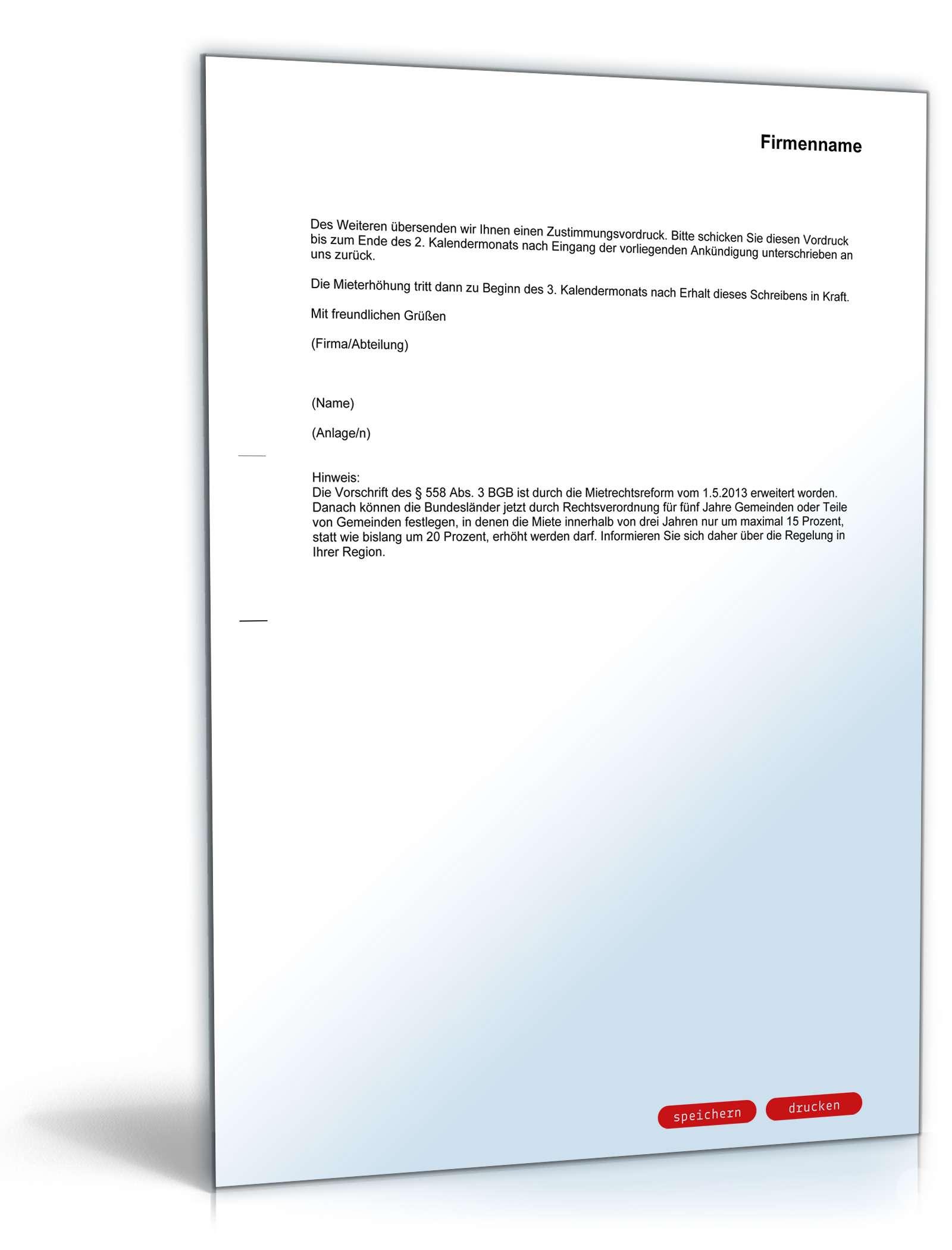 Ankündigung Mieterhöhung Rechtssicheres Muster Zum Download