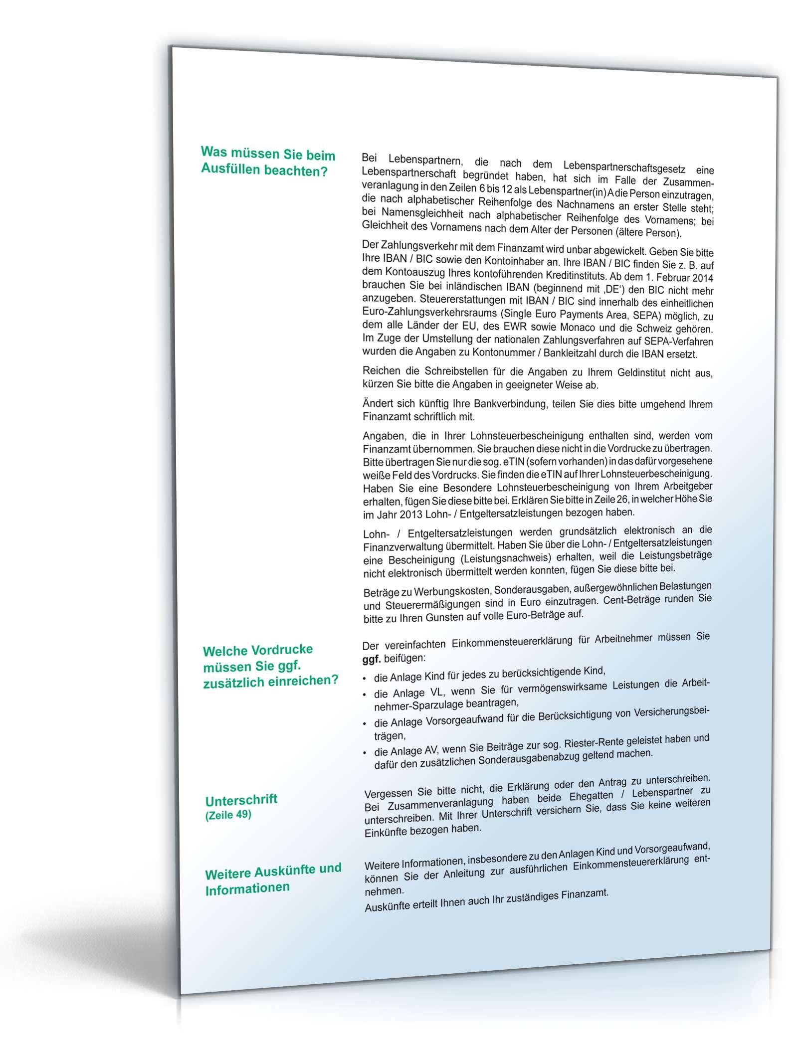 Einkommensteuererklarung 2013 Pdf