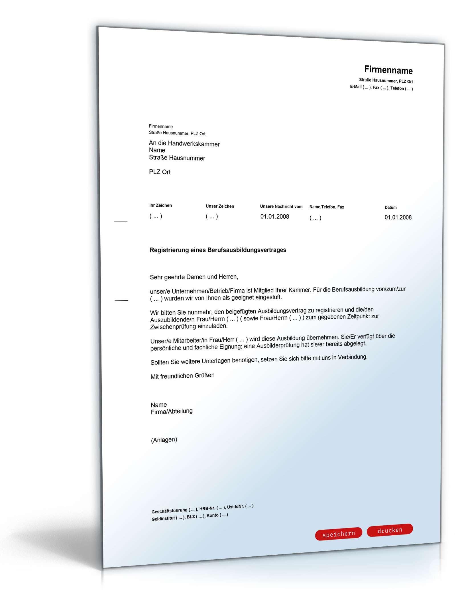 Anmeldung Berufsausbildungsvertrag Muster Zum Download