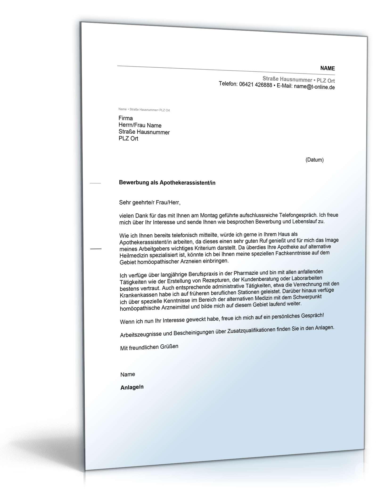Anschreiben Bewerbung Assistent Apotheke | Muster zum Download