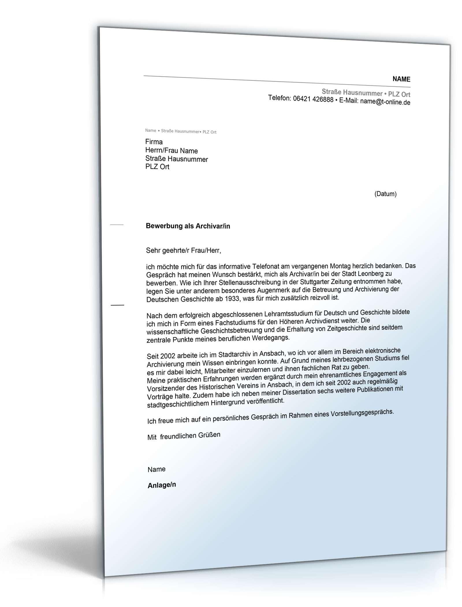 Anschreiben Bewerbung Archivar Muster Zum Download