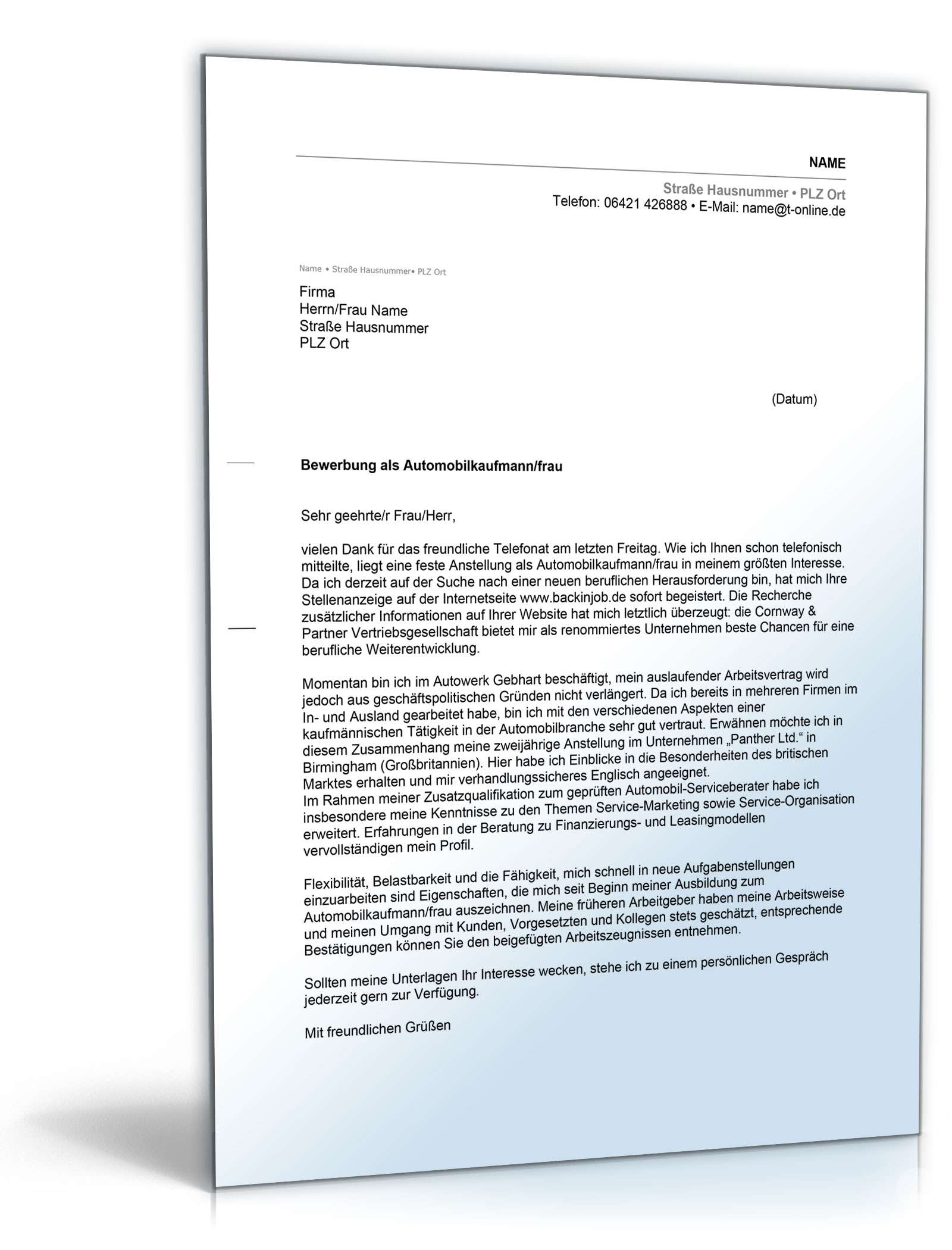 Anschreiben Bewerbung Automobilkaufmann Muster Zum Download