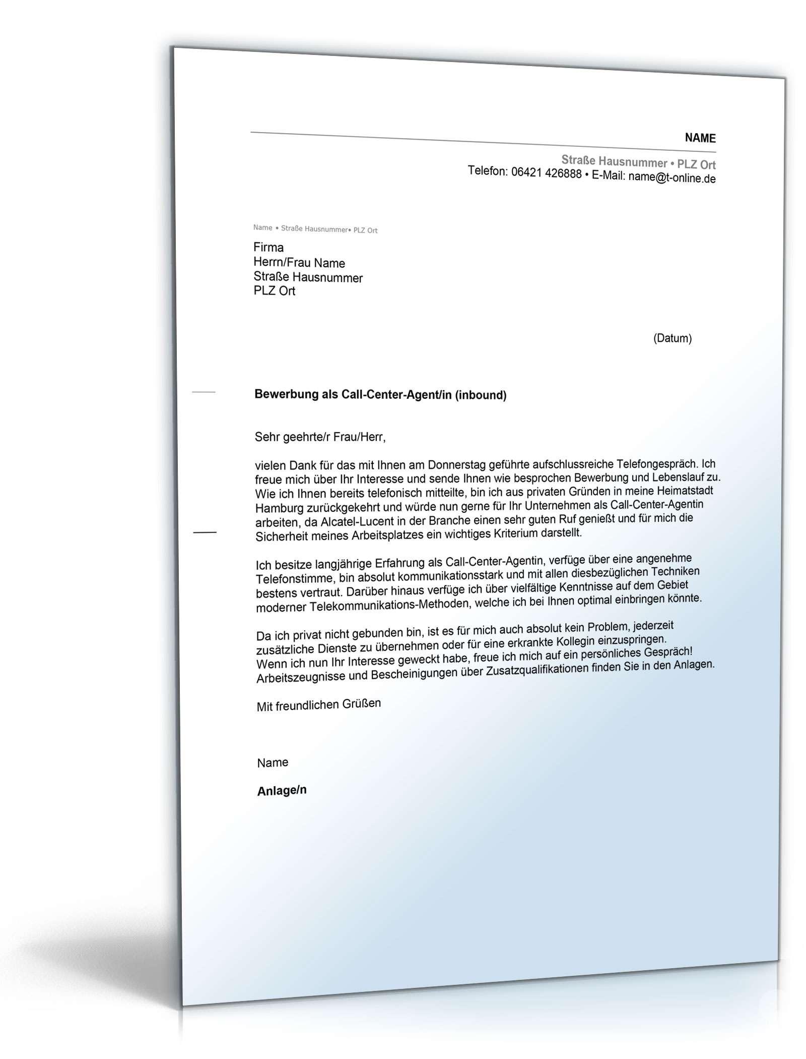Anschreiben Bewerbung Call Center Agent Muster Zum Download