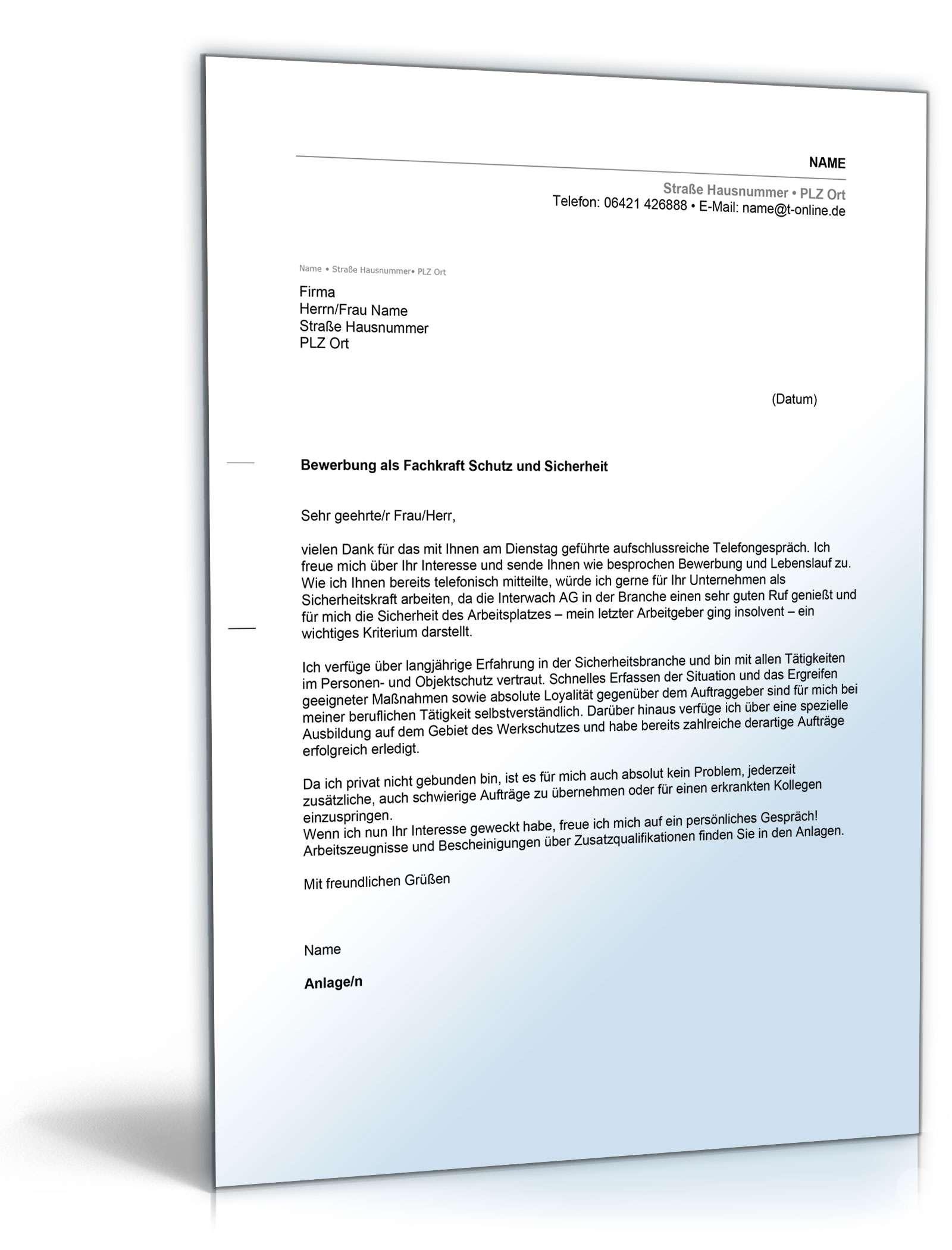 Anschreiben Bewerbung (Fachkraft für Schutz und Sicherheit) Dokument zum Download