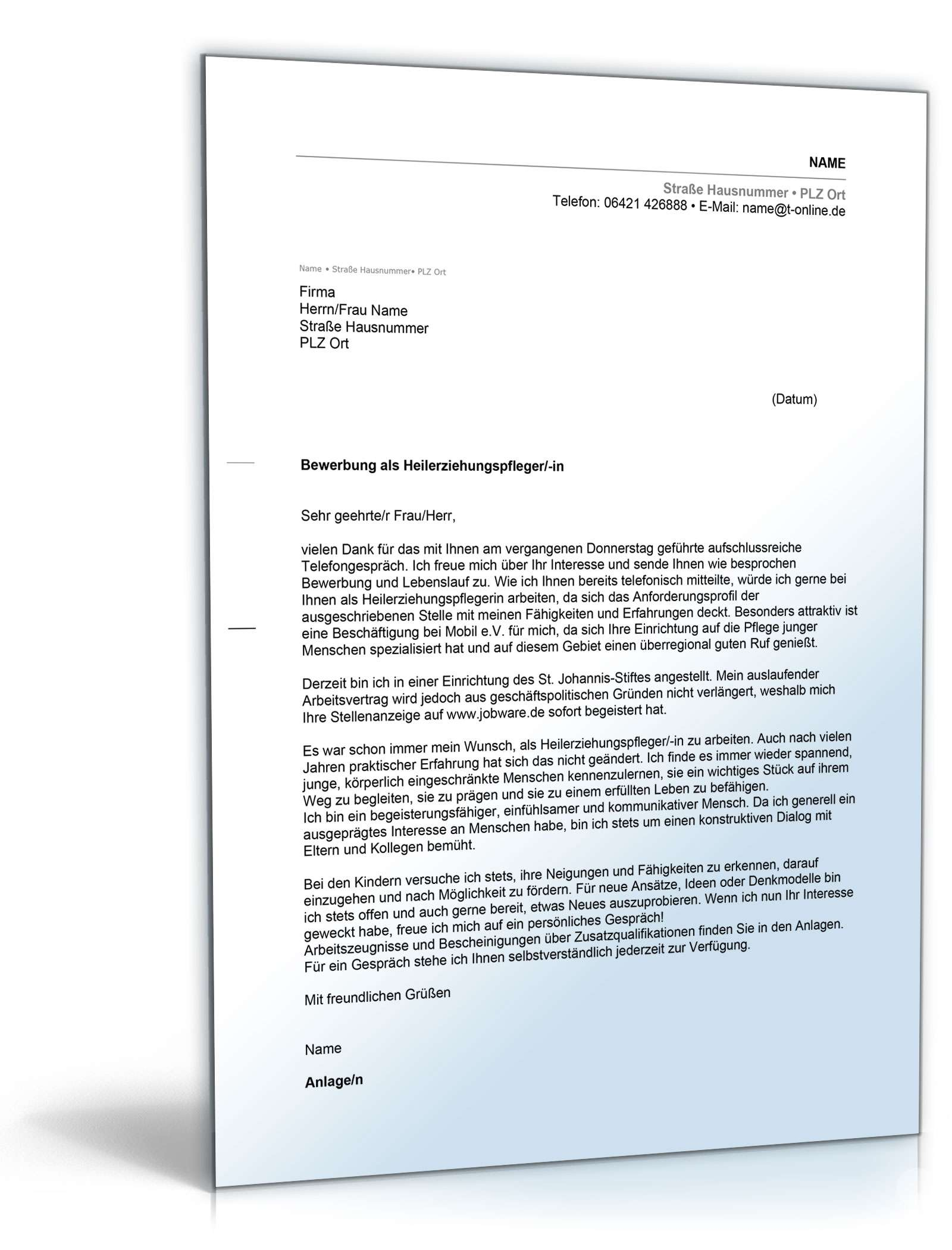 bewerbung ausbildung heilerziehungspfleger muster Anschreiben Bewerbung Heilerziehungspfleger | Muster zum Download