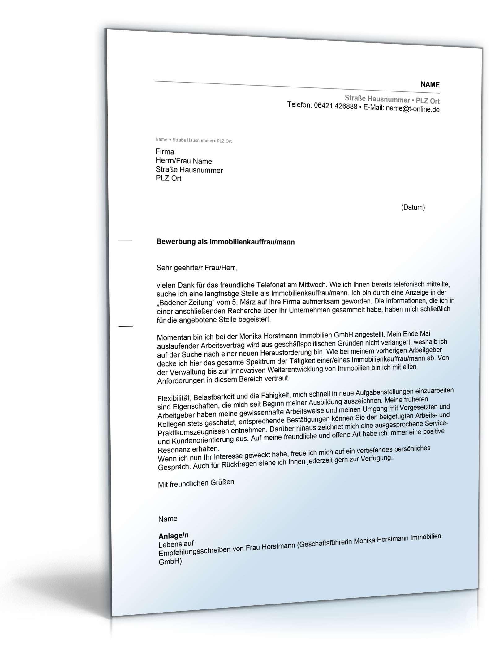 Muster Bewerbung Als Immobilienkauffrau Immobilienkaufmann 2