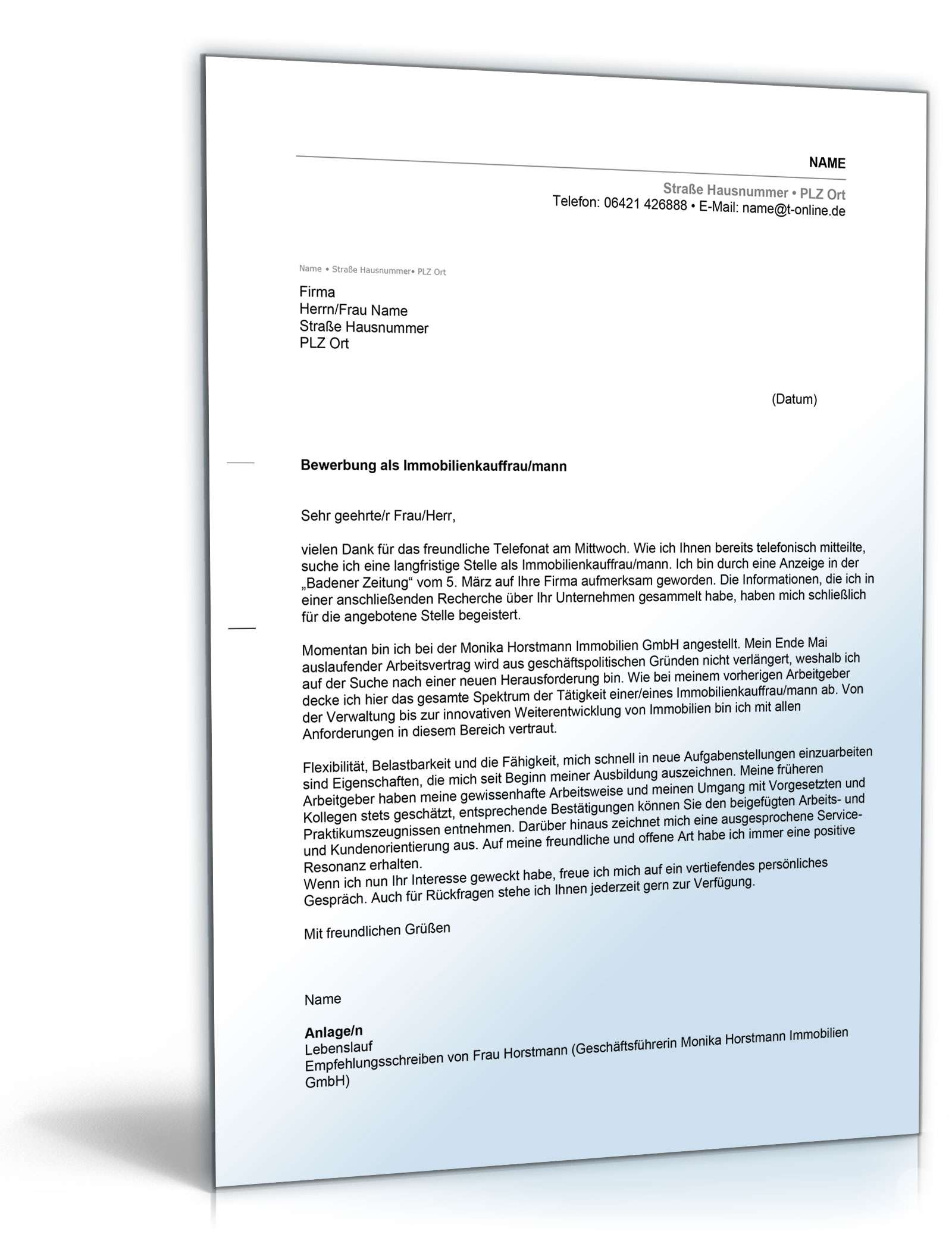 anschreiben bewerbung immobilienkaufmann - Immobilienkaufmann Bewerbung