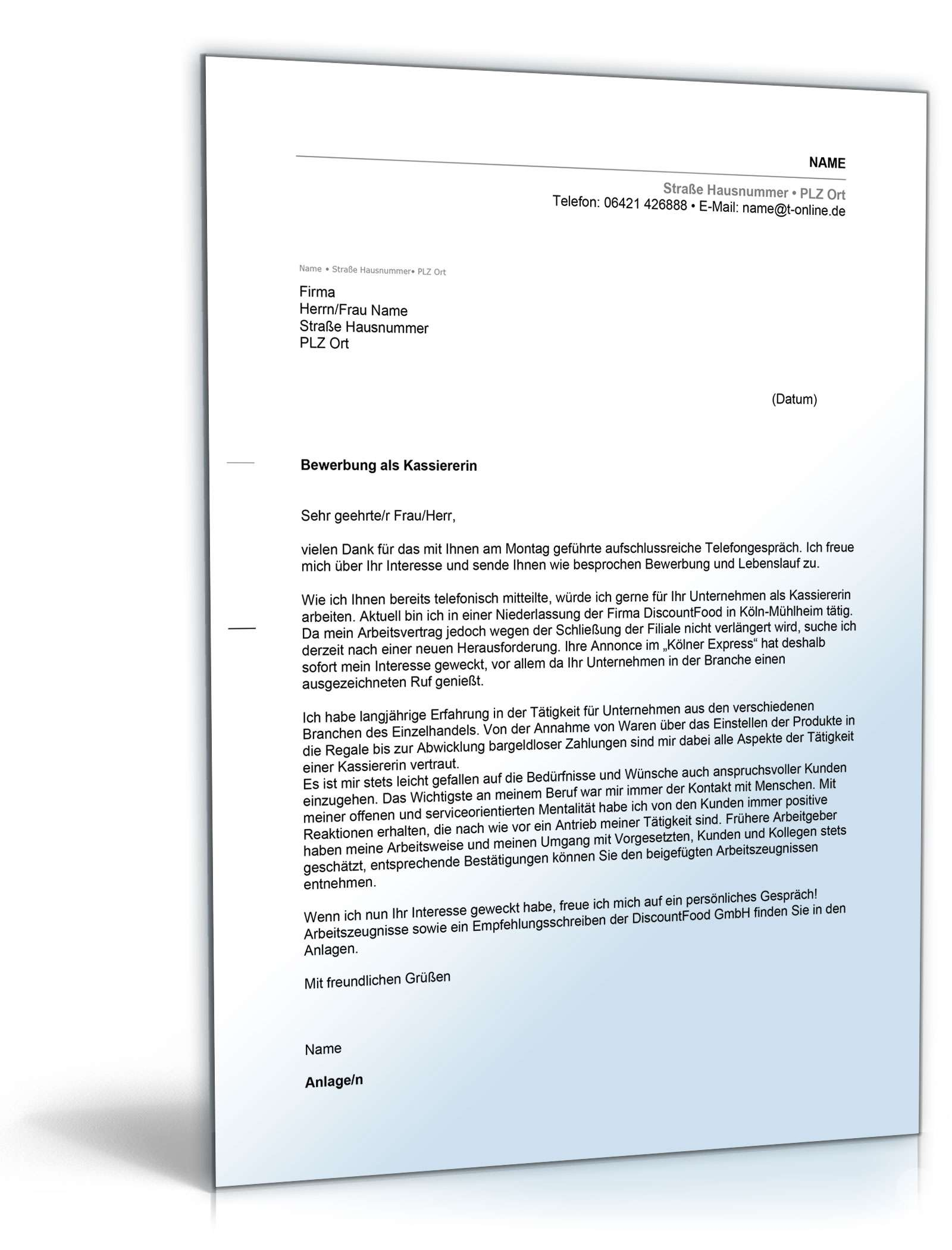 Anschreiben Bewerbung Kassiererin Muster Zum Download